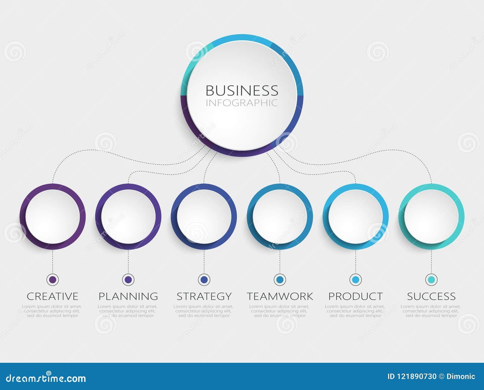 Abstrakta 3D Infographic szablon z 6 krokami dla sukcesu Biznesowego okręgu szablon z opcjami dla broszurki, diagram, obieg