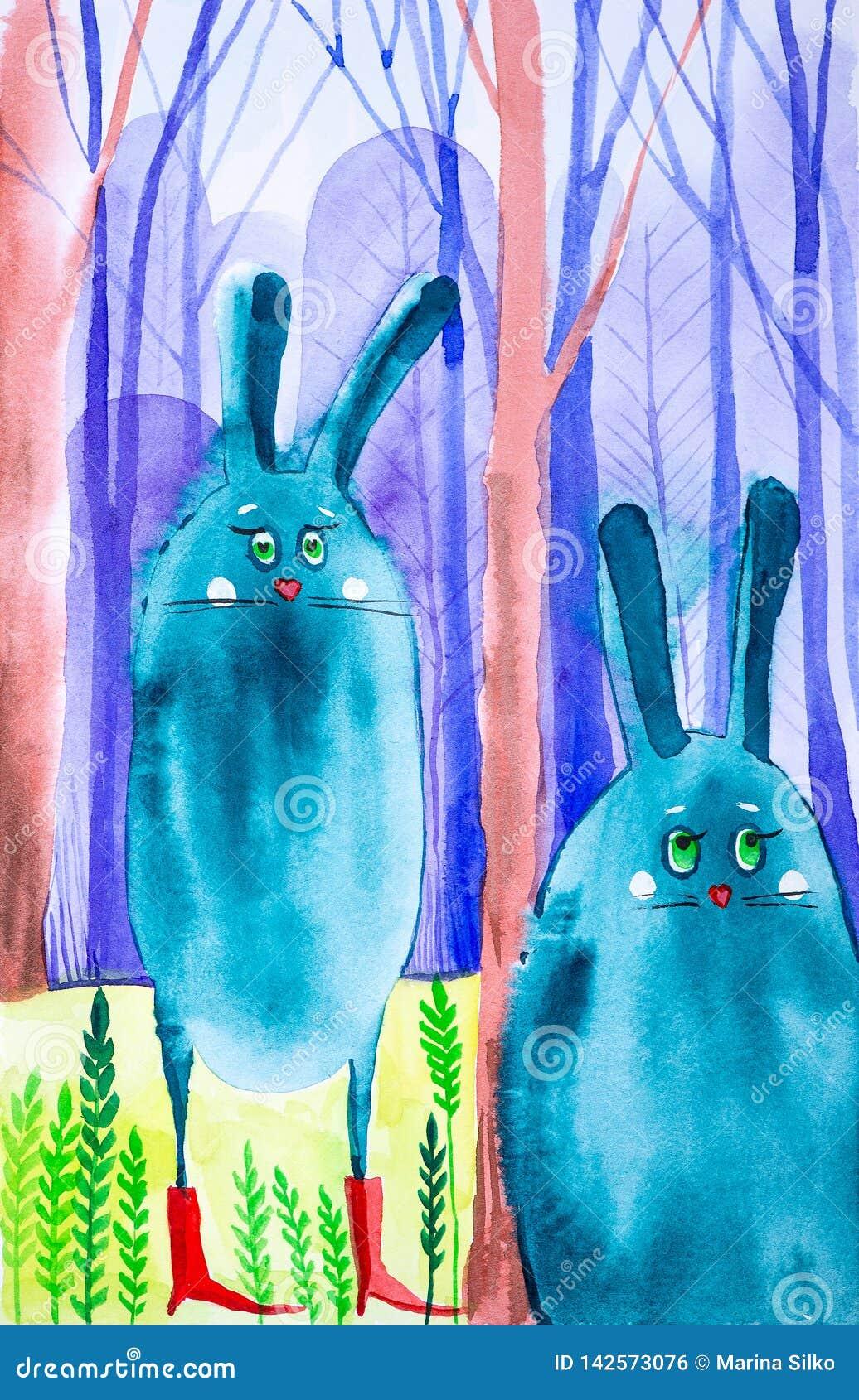 Abstrakta droppe-kaniner fick förlorade i en felik skog bland träd Ett av dem bär röda kängor Komisk vattenfärgillustration