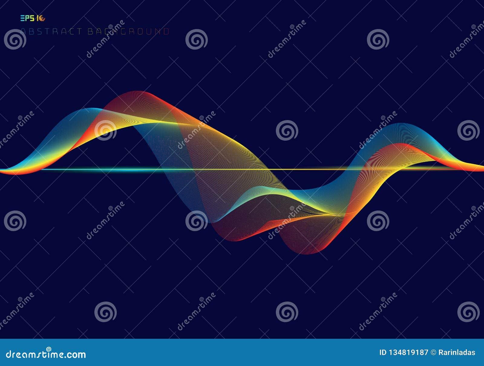Abstrakta färgrika digitala utjämnarevåglinjer på mörkt - blått bakgrundsteknologibegrepp