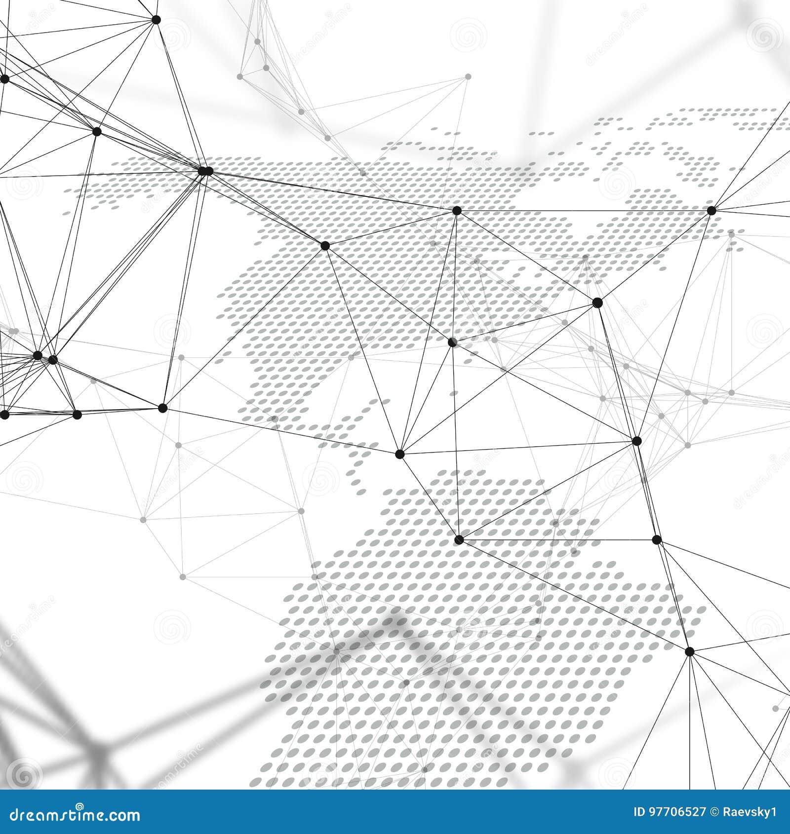 Abstrakta futuristiska nätverksformer Tekniskt avancerad bakgrund, förbindande linjer och prickar, polygonal linjär textur gammal
