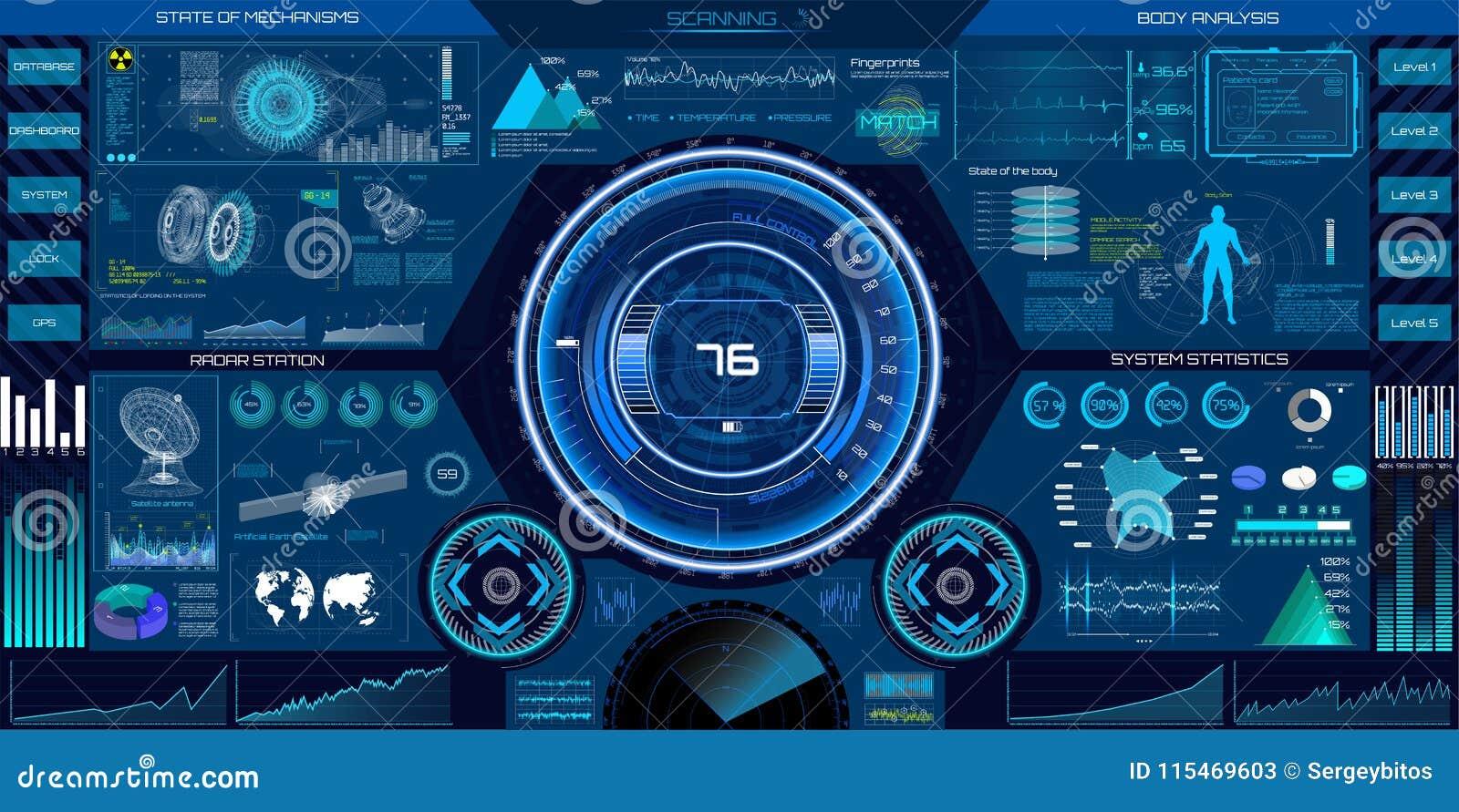 Abstrakta HUD beståndsdelar för design för UI UX Science fiction