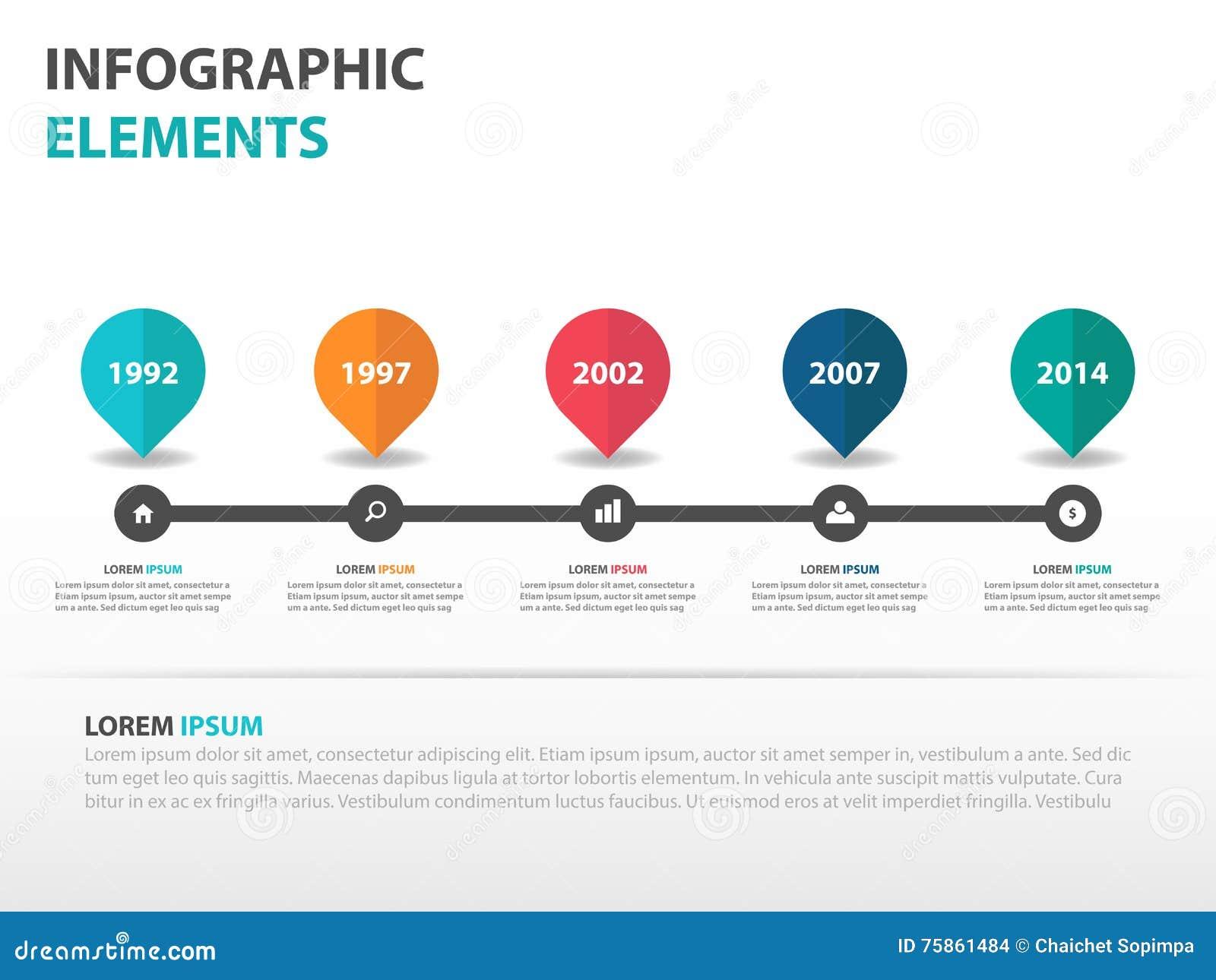 Abstrakta Infographics för kretsschemaaffärstimeline beståndsdelar, illustration för vektor för design för presentationsmalllägen