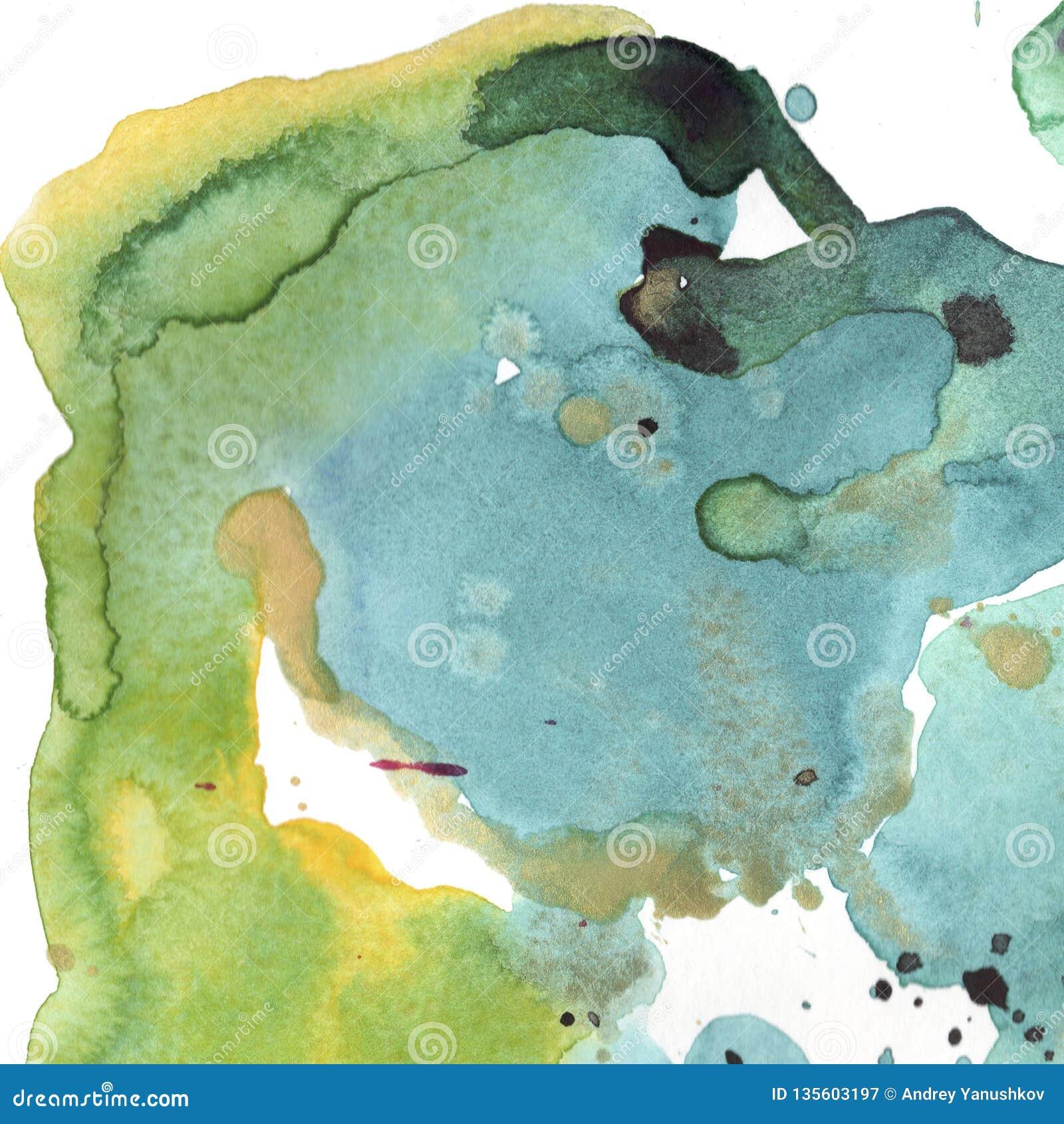 Abstrakta isolerad teckning för vattenfärgpappersfärgstänk former Illustrationaquarelle för bakgrund