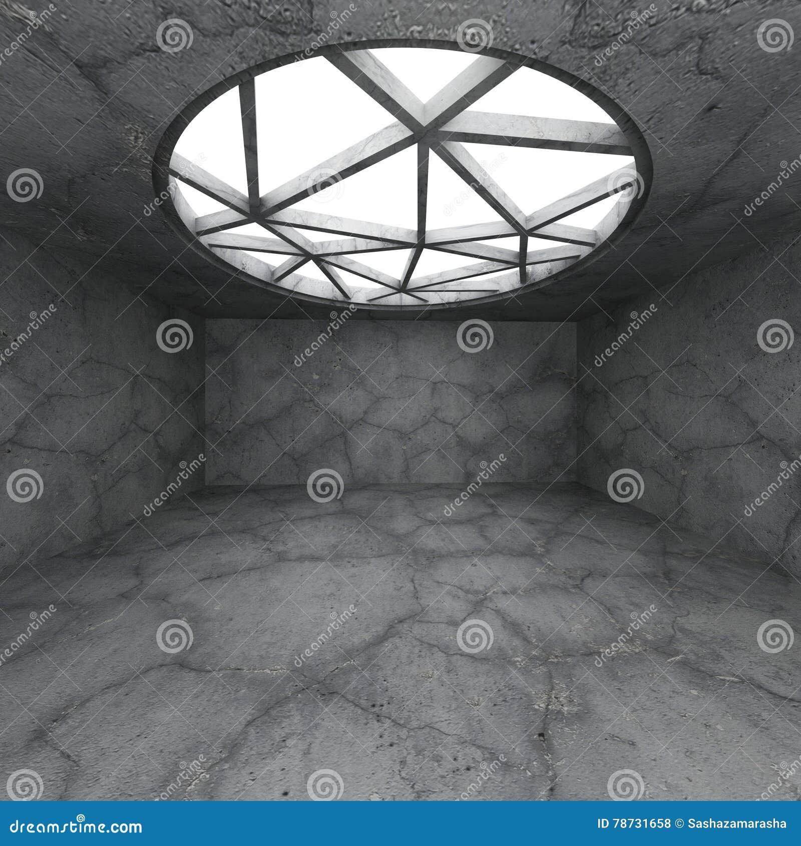 Abstrakta konkreta tömmer ruminre med det stora runda fönstret