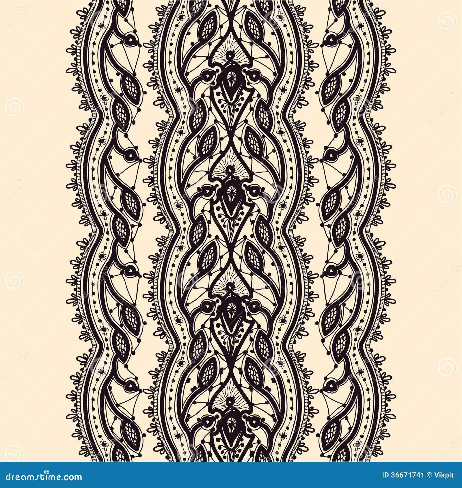Abstrakta Koronkowy Tasiemkowy Bezszwowy wzór.