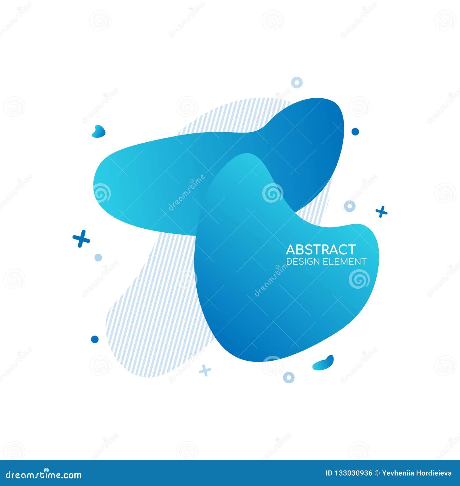 Abstrakta moderna grafiska beståndsdelar Dynamisk blå färgform och linje Abstrakt baner för lutning med plast- vätskeformer