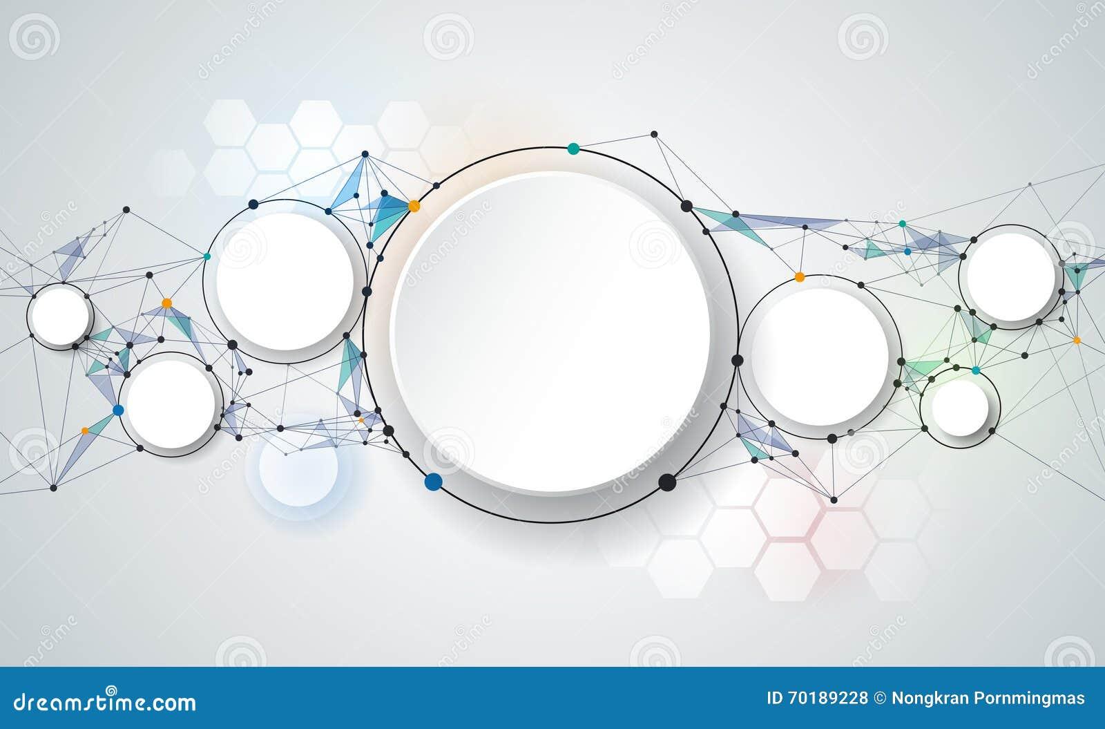 Abstrakta molekylar och cirklar för papper 3d med tomt utrymme för ditt innehåll