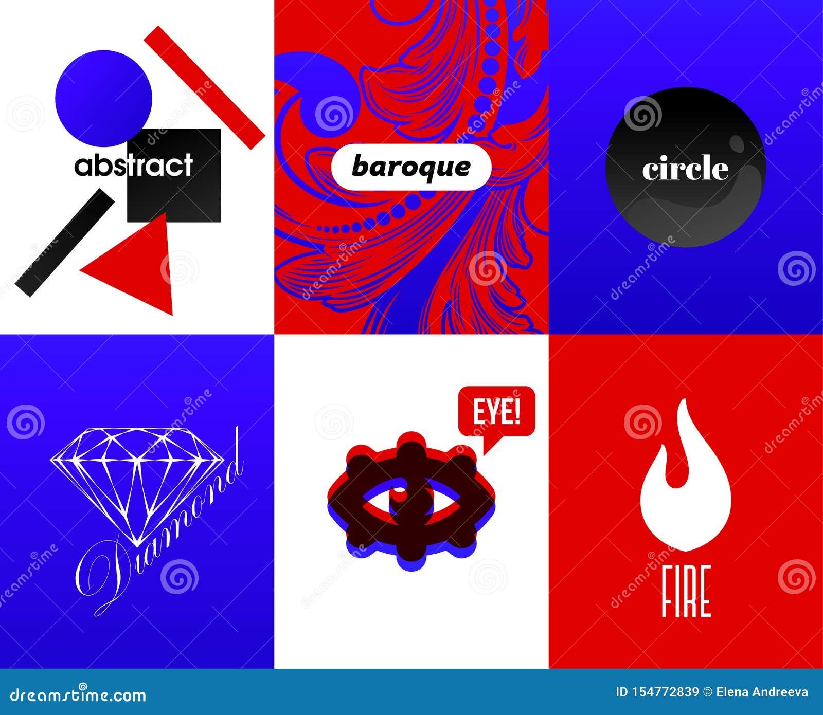 Abstrakta räkningar med beståndsdelar för modern design och kallt typografisk på ljusa och vibrerande lutningbakgrunder Hipstersa