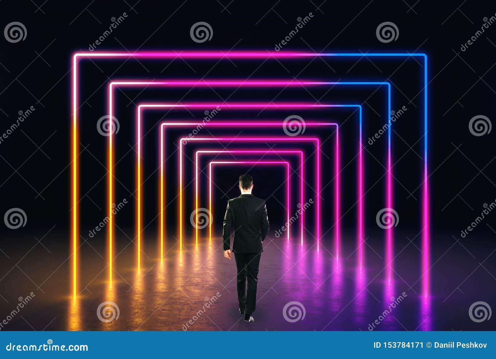 Abstrakta różowy neonowy korytarz