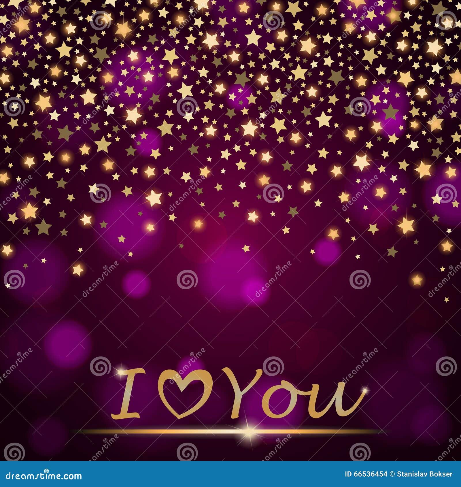 Abstrakta skinande fallande stjärnor för vektorn på violett omgivande suddig bakgrund älskar jag dig
