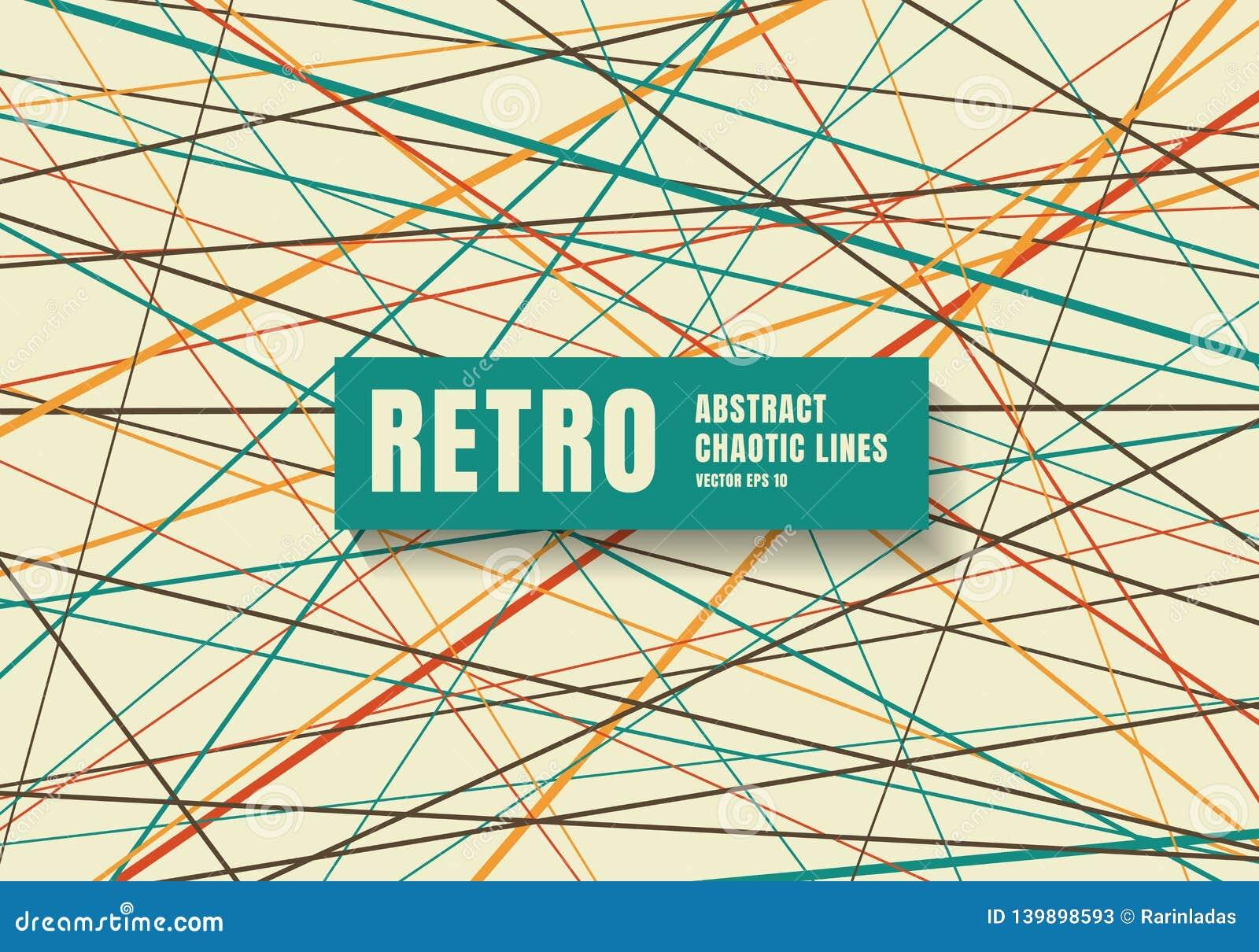 Abstrakta slumpmässiga kaotiska linjer modell och texturbakgrund Beståndsdel för geometrisk design för att skapa retro färgstil f