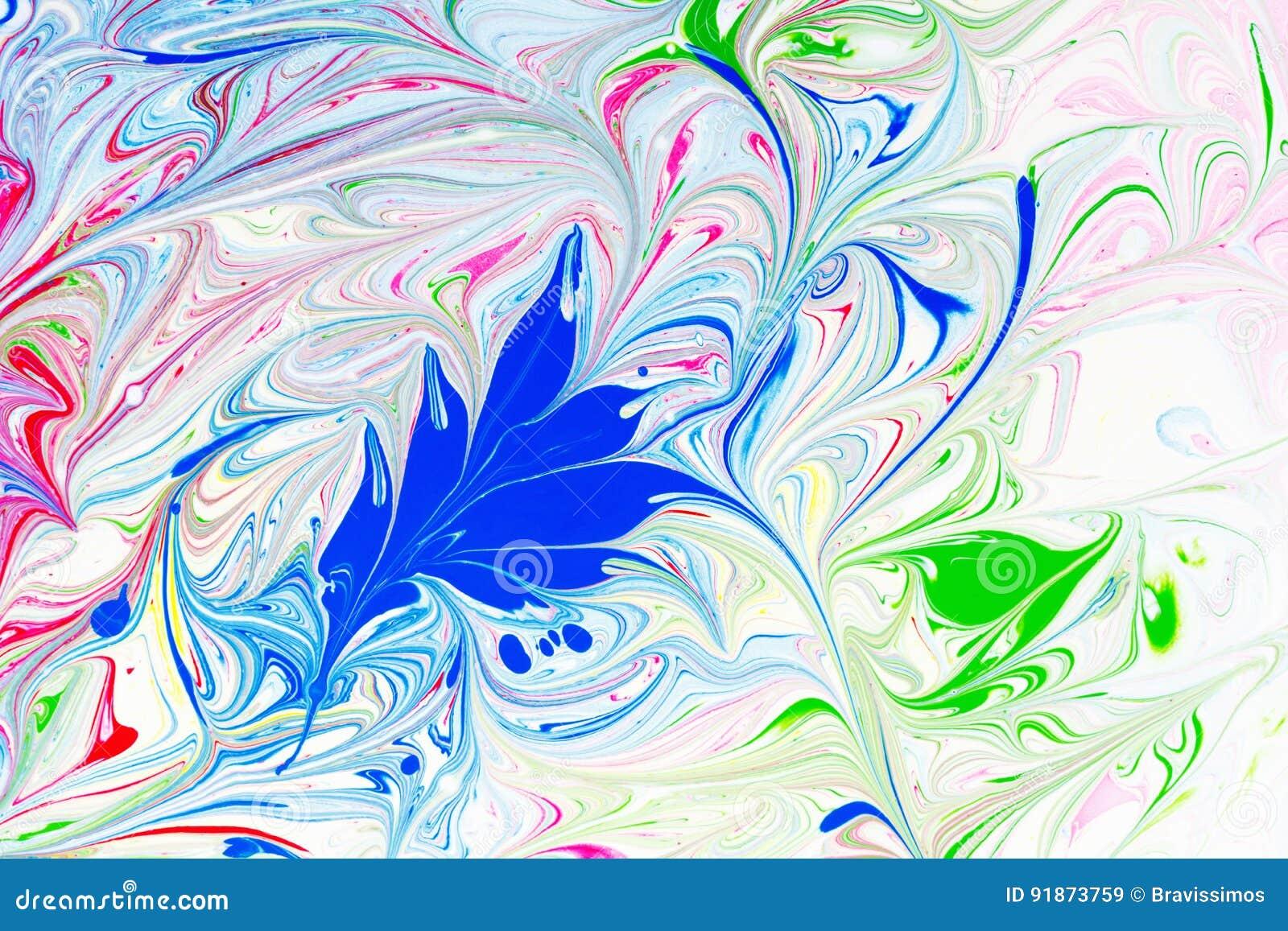 Abstrakta wzór, Tradycyjna Ebru sztuka Koloru atramentu farba z fala szczegółowy rysunek kwiecisty pochodzenie wektora