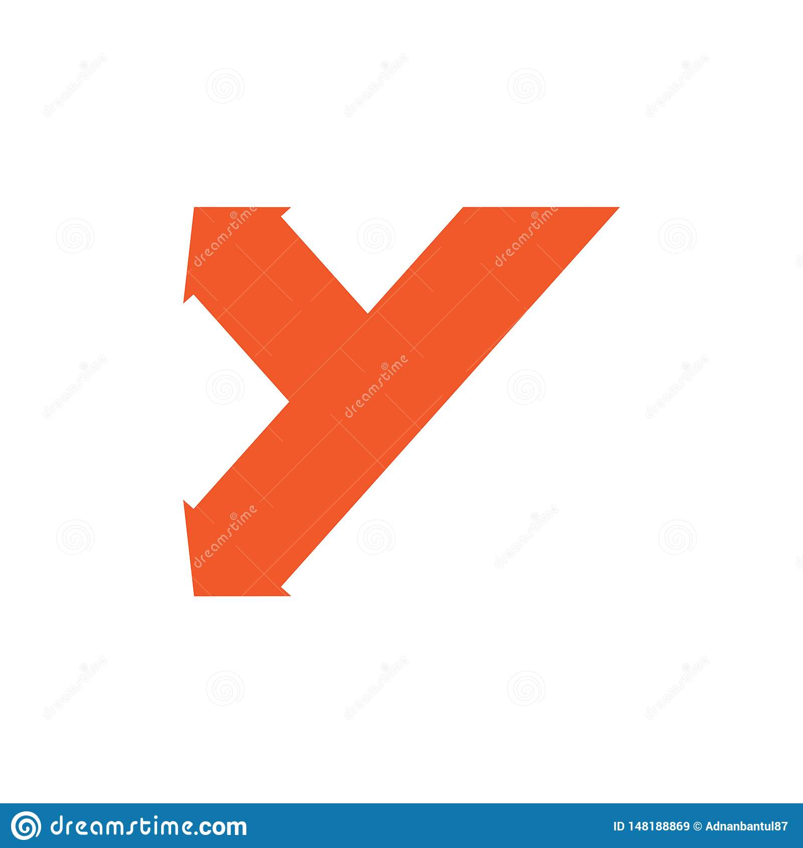 Abstrakta y ścieżki logo listowy prosty geometryczny strzałkowaty wektor