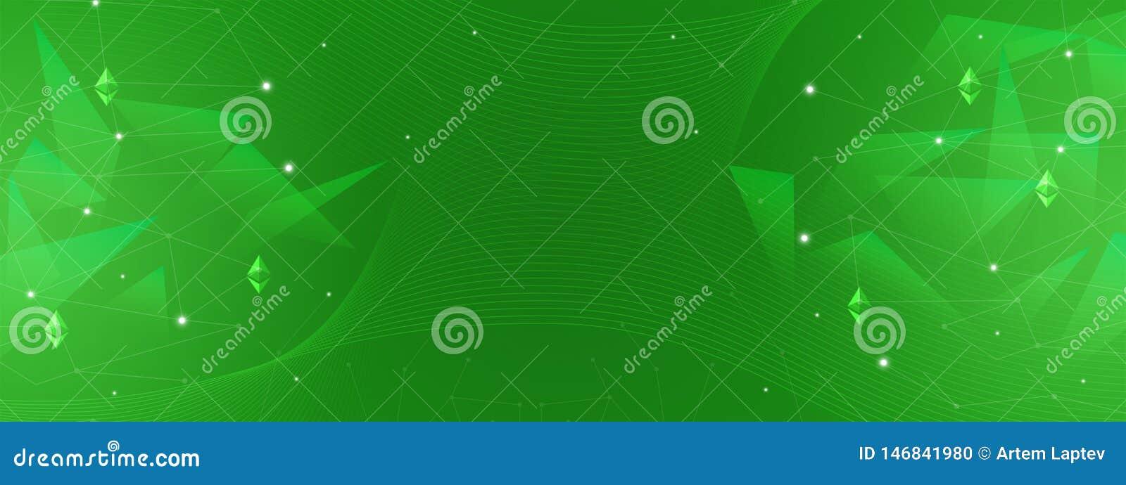 Abstrakta zielony tło dla finanse, biznes, cryptocurrency, blockchain, ethereum, sieci