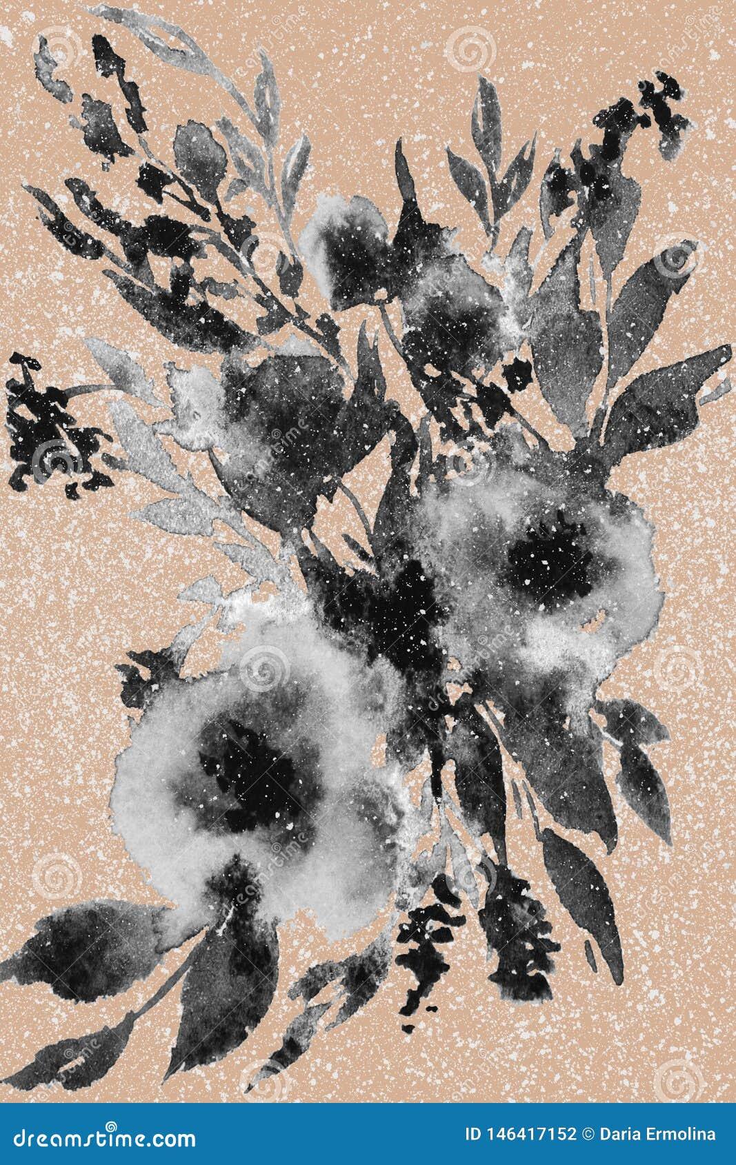 Abstrakte Aquarellblumen