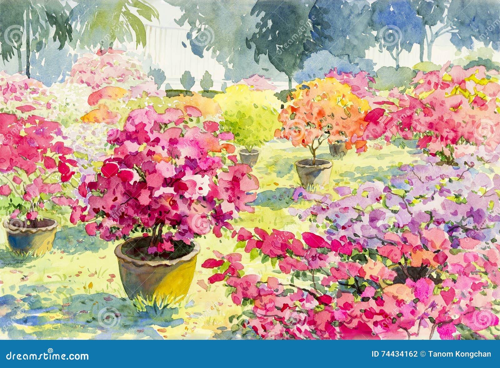 Abstrakte Aquarelllandschaftsursprüngliche Malerei-Rosafarbe der Papierblume