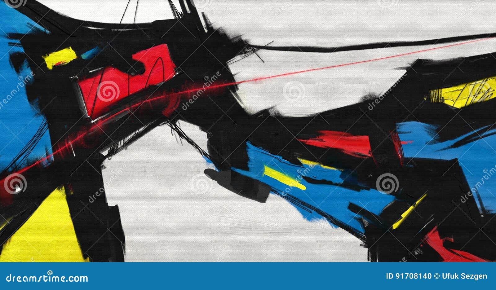 Abstrakte Artgrafik des Ölgemäldes auf Segeltuch