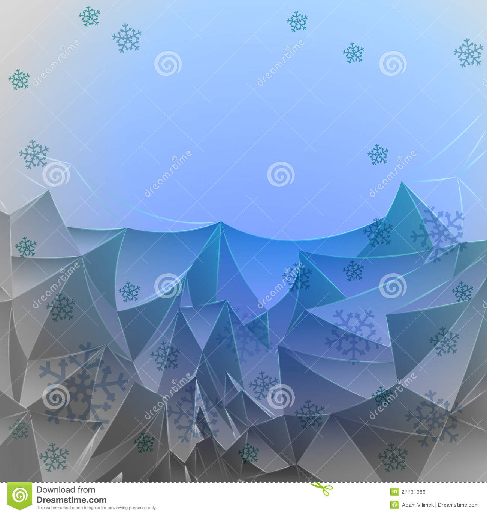 Abstrakte blaue eisige Berge mit Schnee