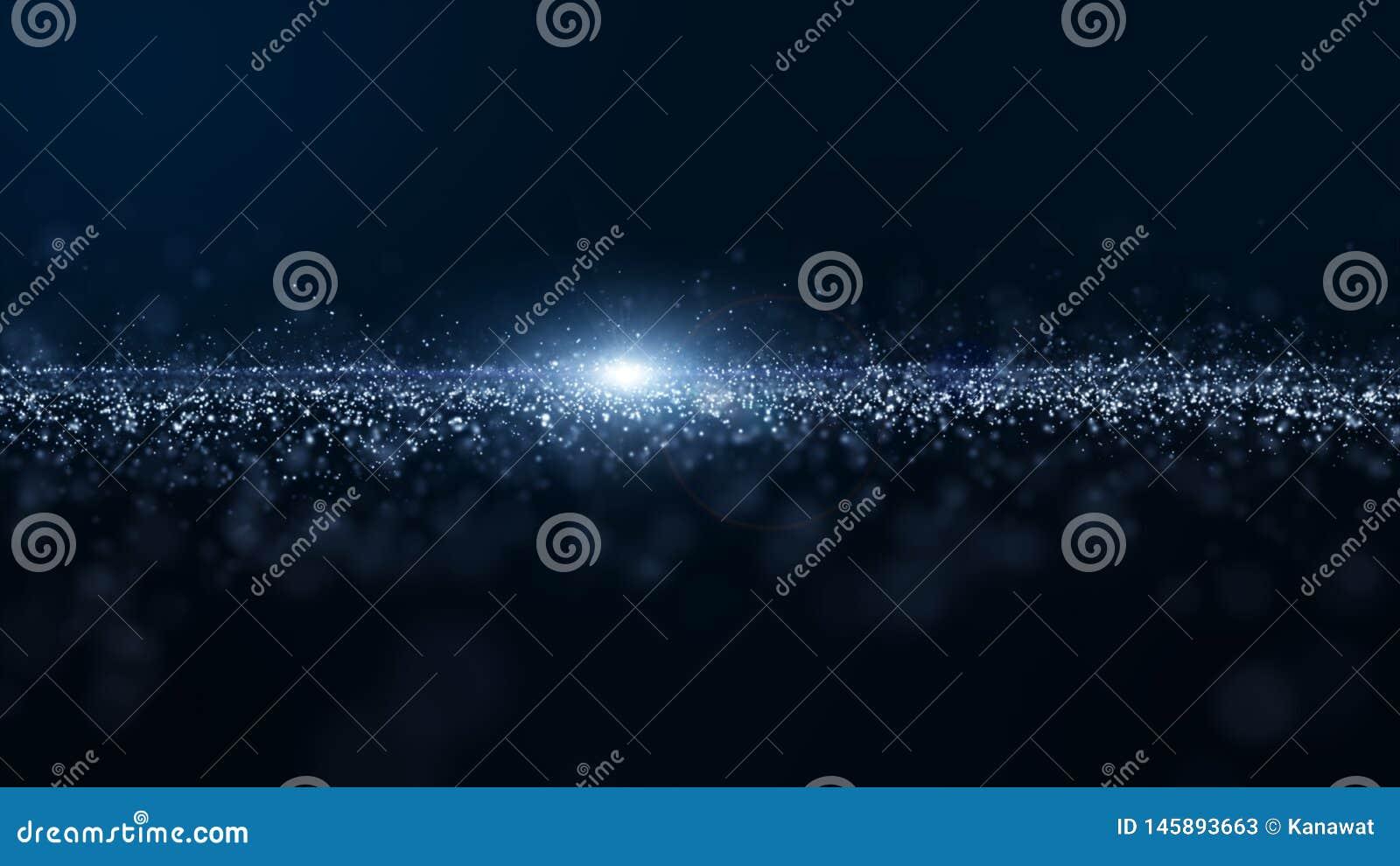 Abstrakte blaue Farbdigitale Partikel bewegen mit Staub und hellem Hintergrund wellenartig