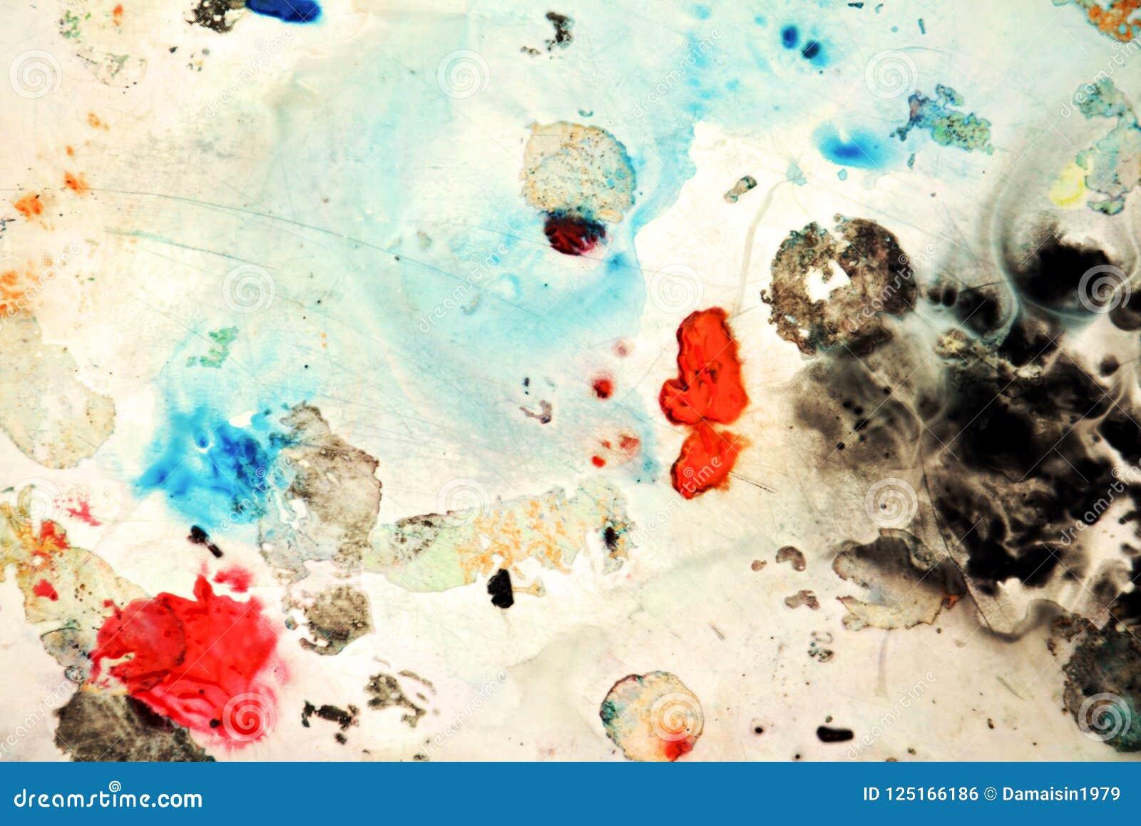 Abstrakte blaue orange schwarze Flecke, malender Aquarellhintergrund, malende abstrakte Farben