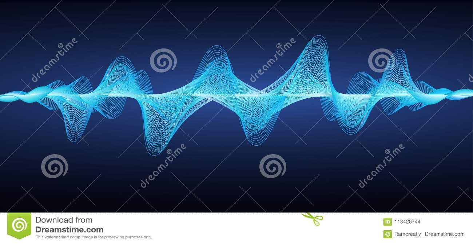 Abstrakte blaue Schallwellen Gewellte Linien des Effektes