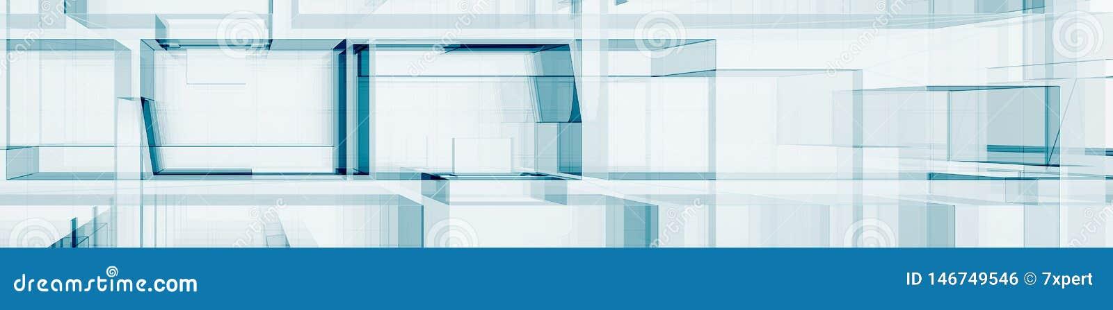 Abstrakte blaue Wiedergabe der Architektur 3d