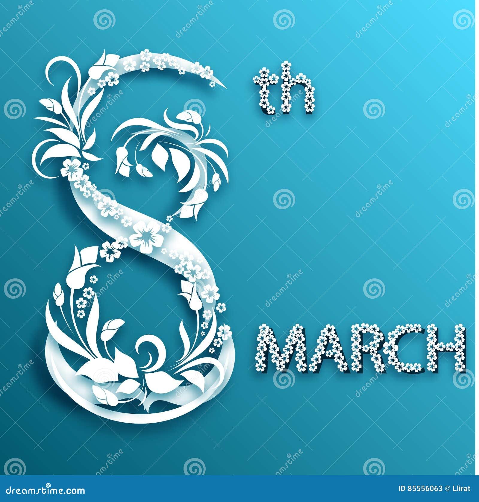 Abstrakte Blumengrußkarte mit am 8. März Modisches Papierschnittdesign
