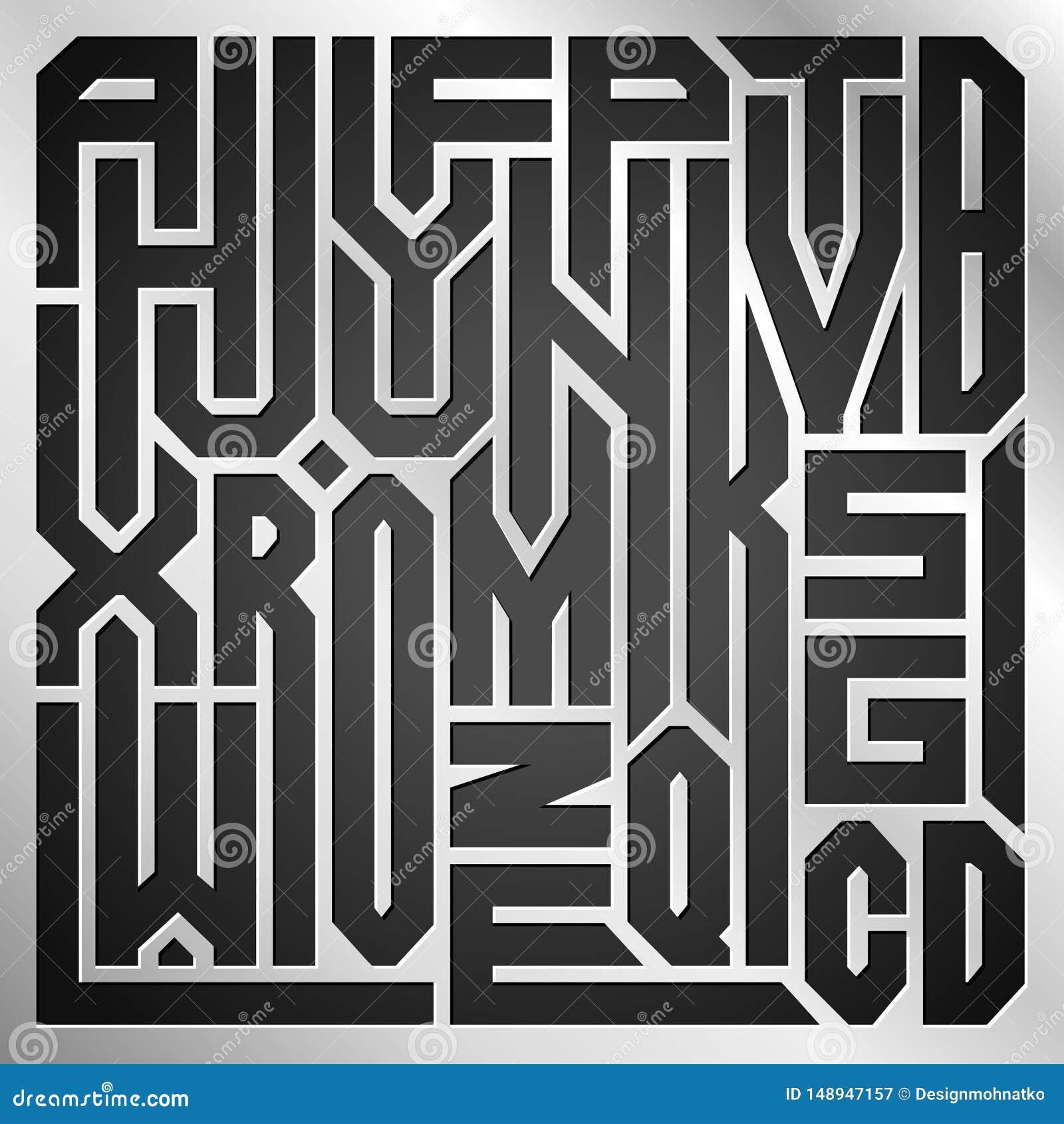 Abstrakte Collage von den Buchstaben des Alphabetes von A zu Z auf Metallhintergrund