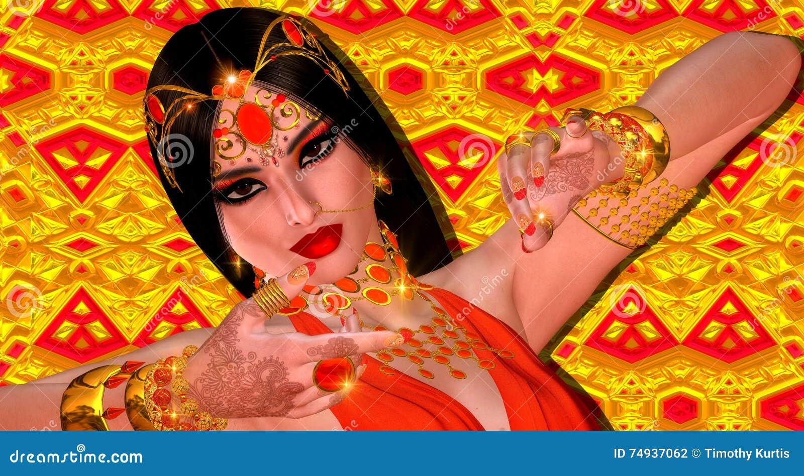 Abstrakte digitale Kunst der mysteriösen indischen oder asiatischen Fantasiefrau