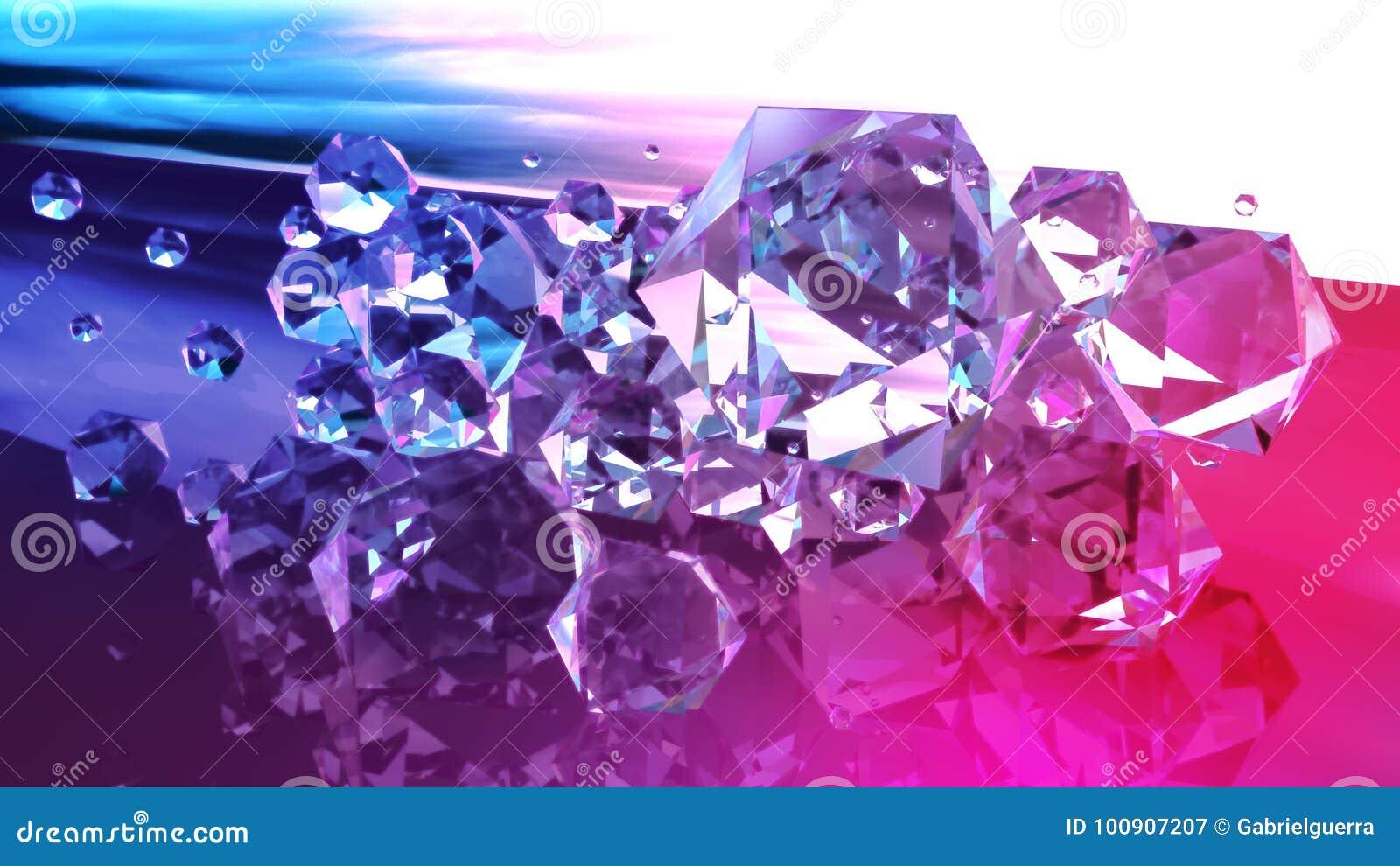 Abstrakte Edelsteine der Diamanten in Purpurrotem und in Blauem