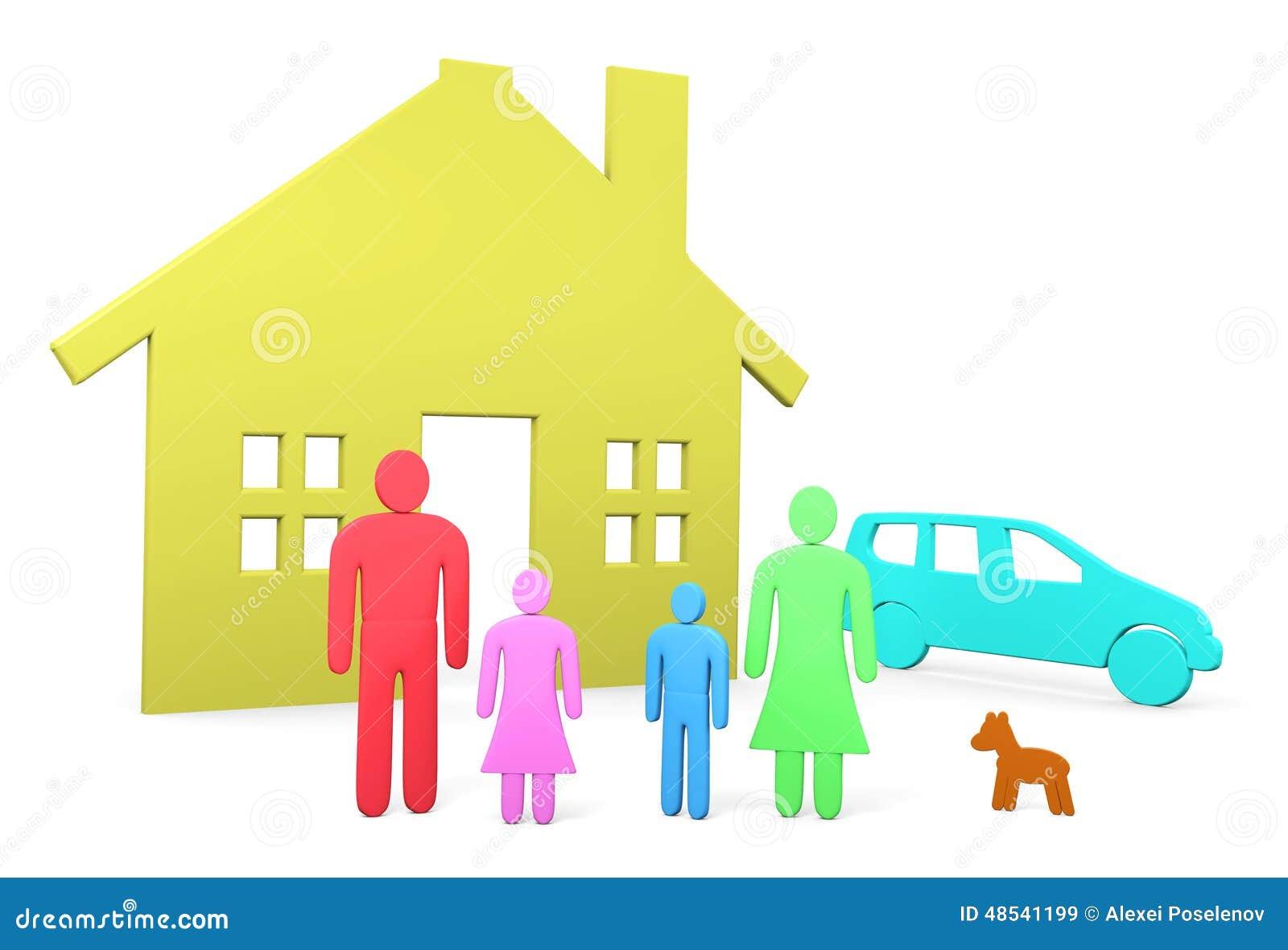 abstrakte familie steht vor ihrem haus und auto stock abbildung bild 48541199. Black Bedroom Furniture Sets. Home Design Ideas