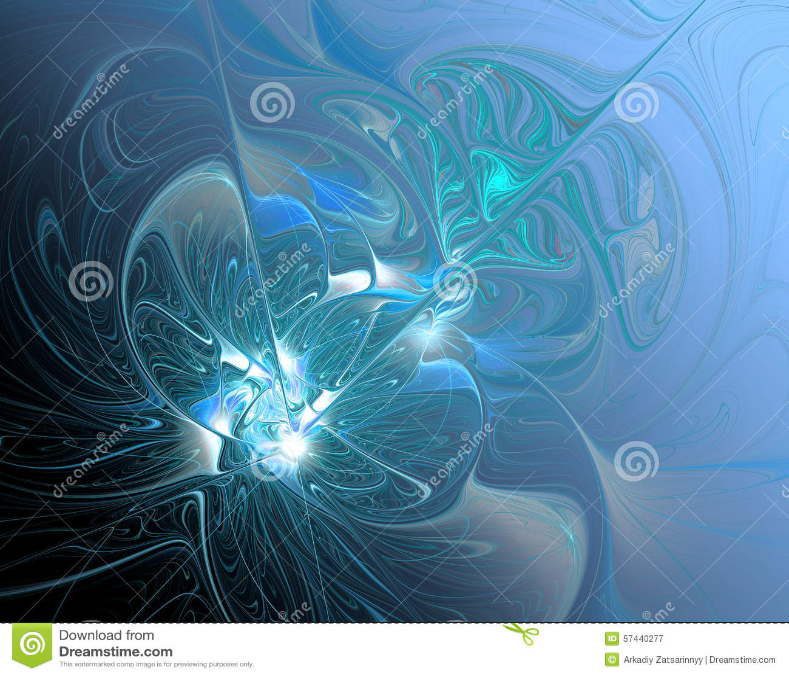 Abstrakte Fractal-Auslegung Turbulenz des schmelzenden Silbers im Blau
