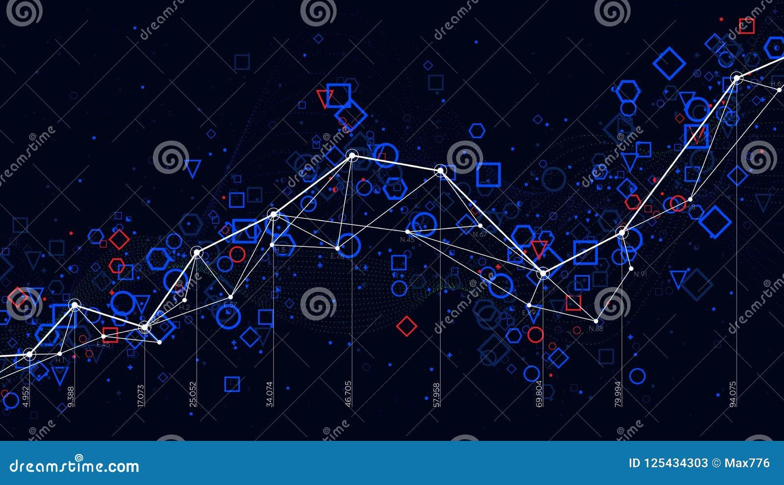 Abstrakte futuristische infographic, große Daten der Wirtschaftsstatistik stellen Sichtbarmachung grafisch dar