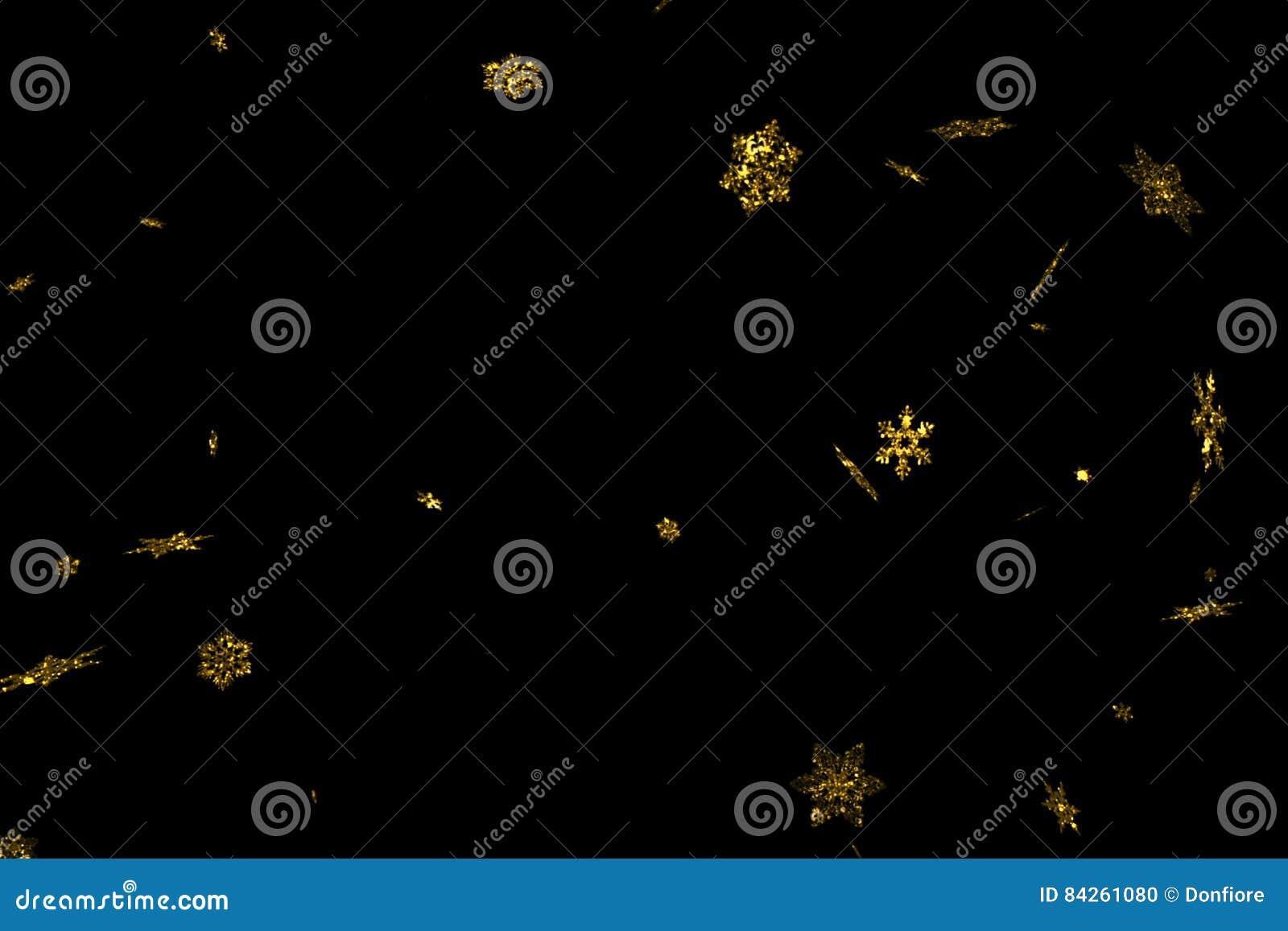 Abstrakte Goldfunkelnschein-Weihnachtsschneeflocken, die unten Schnee von der Spitze, Winterurlaubweihnachtsnahtlose Schleife fal