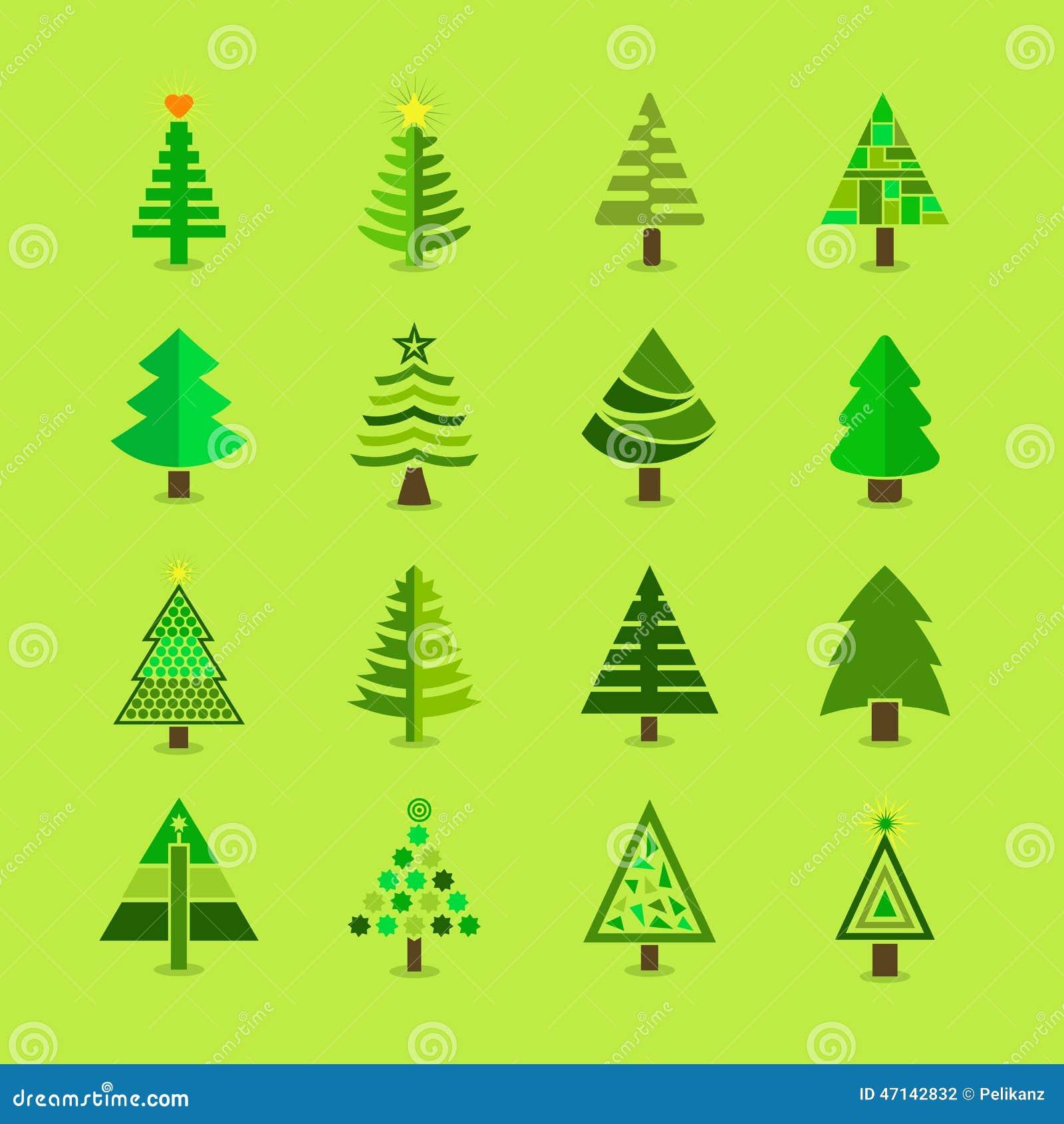 Abstrakte grüne Weihnachtsbaumikonen eingestellt