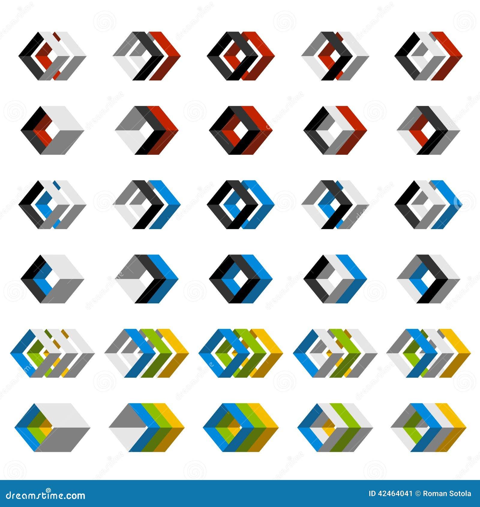 Abstrakte Ikonen des Quadrats 3D