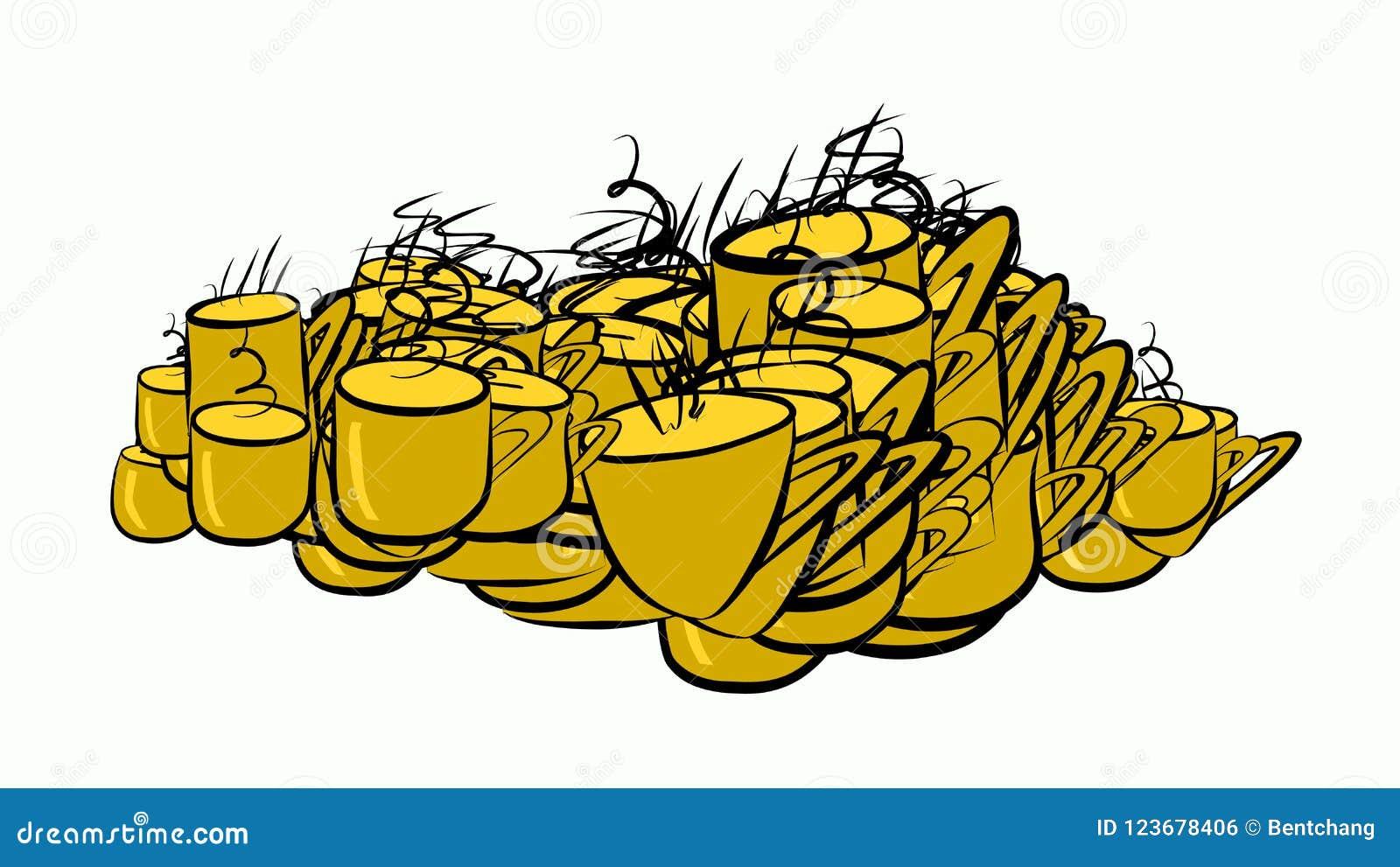 Abstrakte Illustrationen der Kaffeetasse, begrifflich Grafik, Muster, Farbe u. Mokka