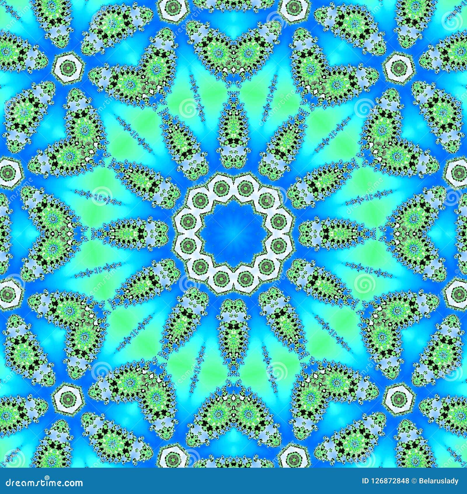 Abstrakte Illustrationssternmandala auf blauem Hintergrund Rundes dekoratives Arabeskenmuster