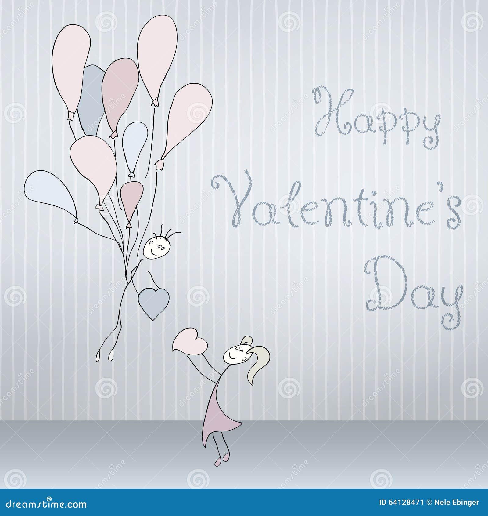 Abstrakte Karten mit der Hand, die gezeichnet wird, passen mit Ballonen, der Gekritzelguß zusammen, gefaltet Rote Rose