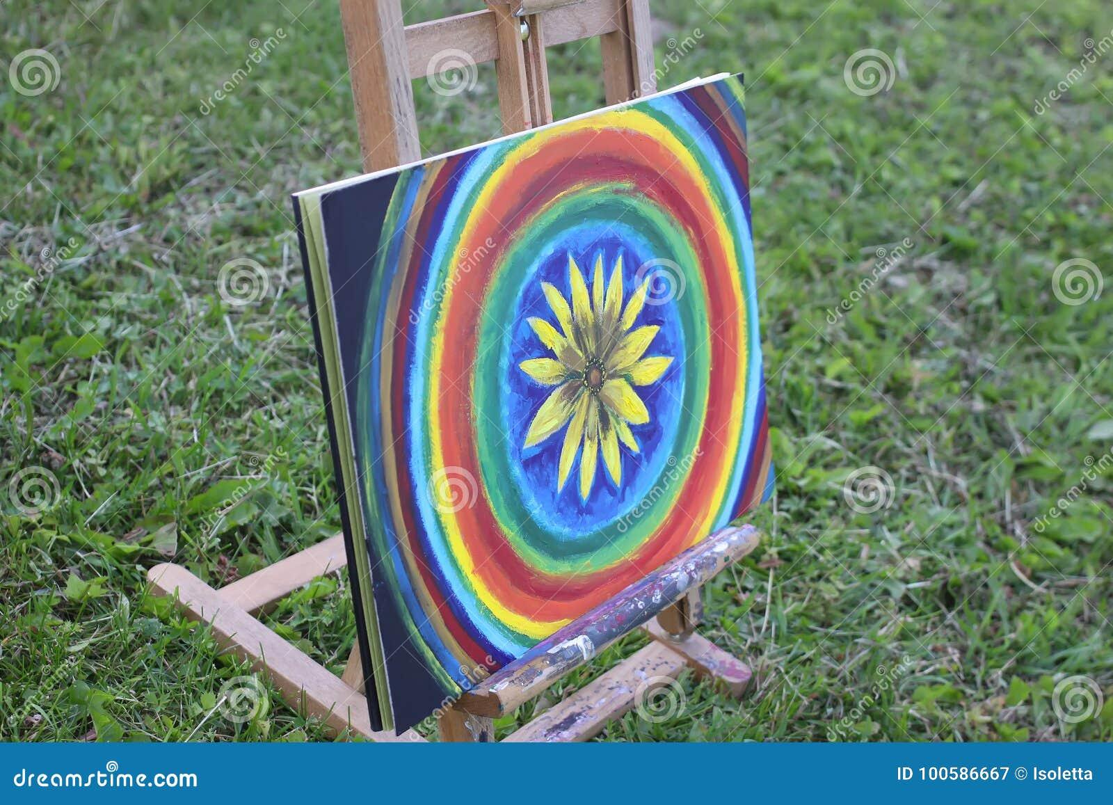 Abstrakte Malerei auf Segeltuch auf Gestell