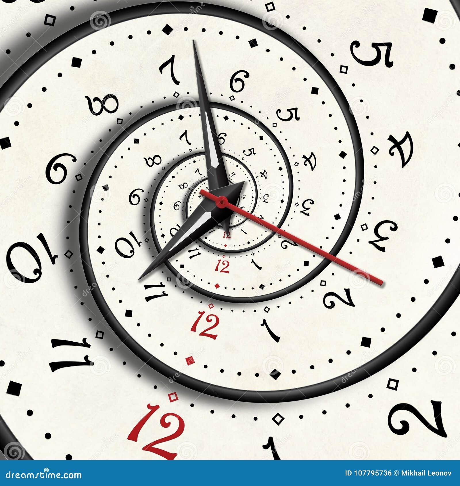 Abstrakte moderne Weißspiralenuhr Fractal-Uhrhandzeiger verdrehten Fractal Beschaffenheit der Uhruhr ungewöhnlicher abstrakter ho