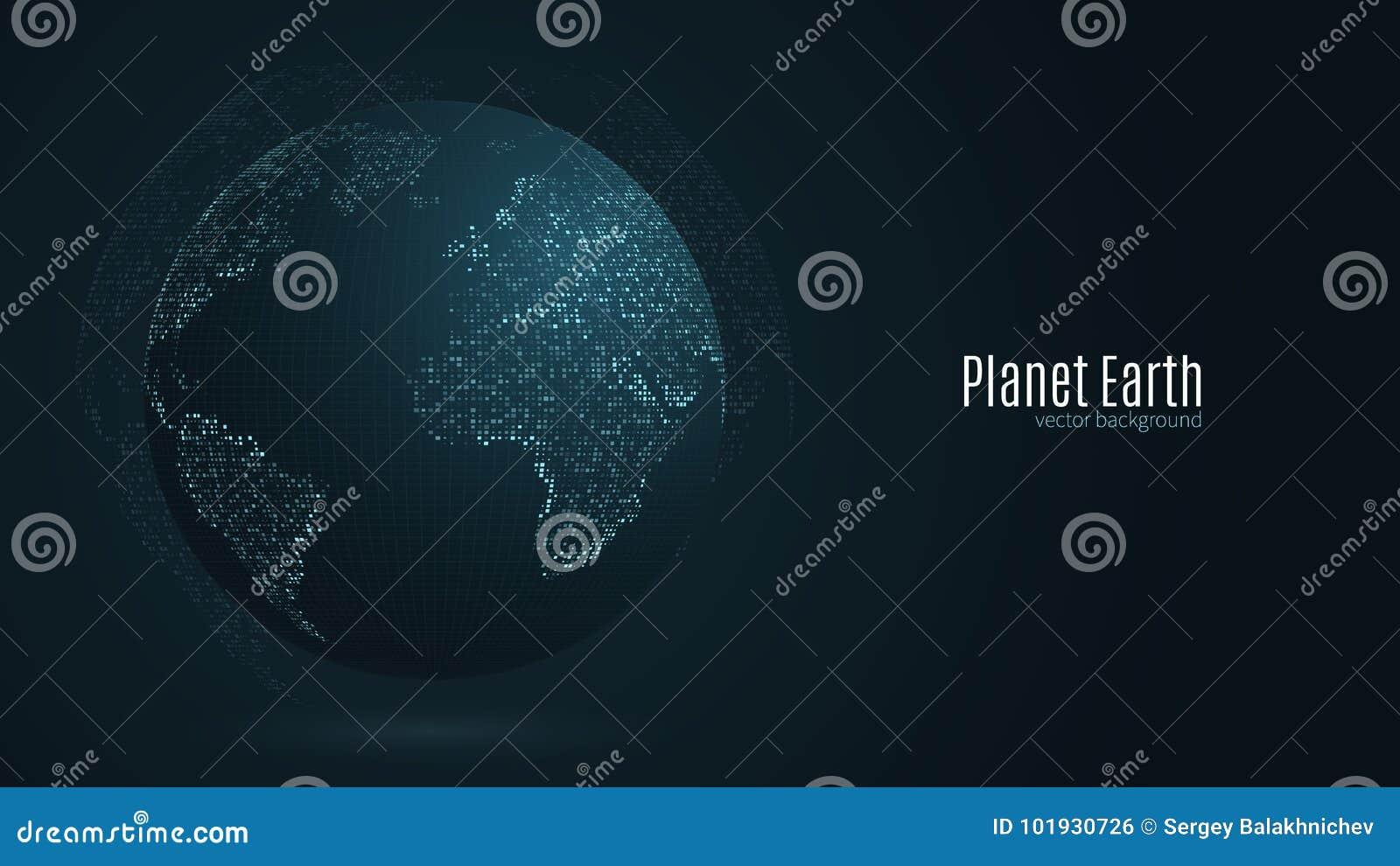 Abstrakte Planet Erde Blaue Karte der Erde von den quadratischen Punkten Dunkler Hintergrund Blaues Glühen Hochtechnologie Global