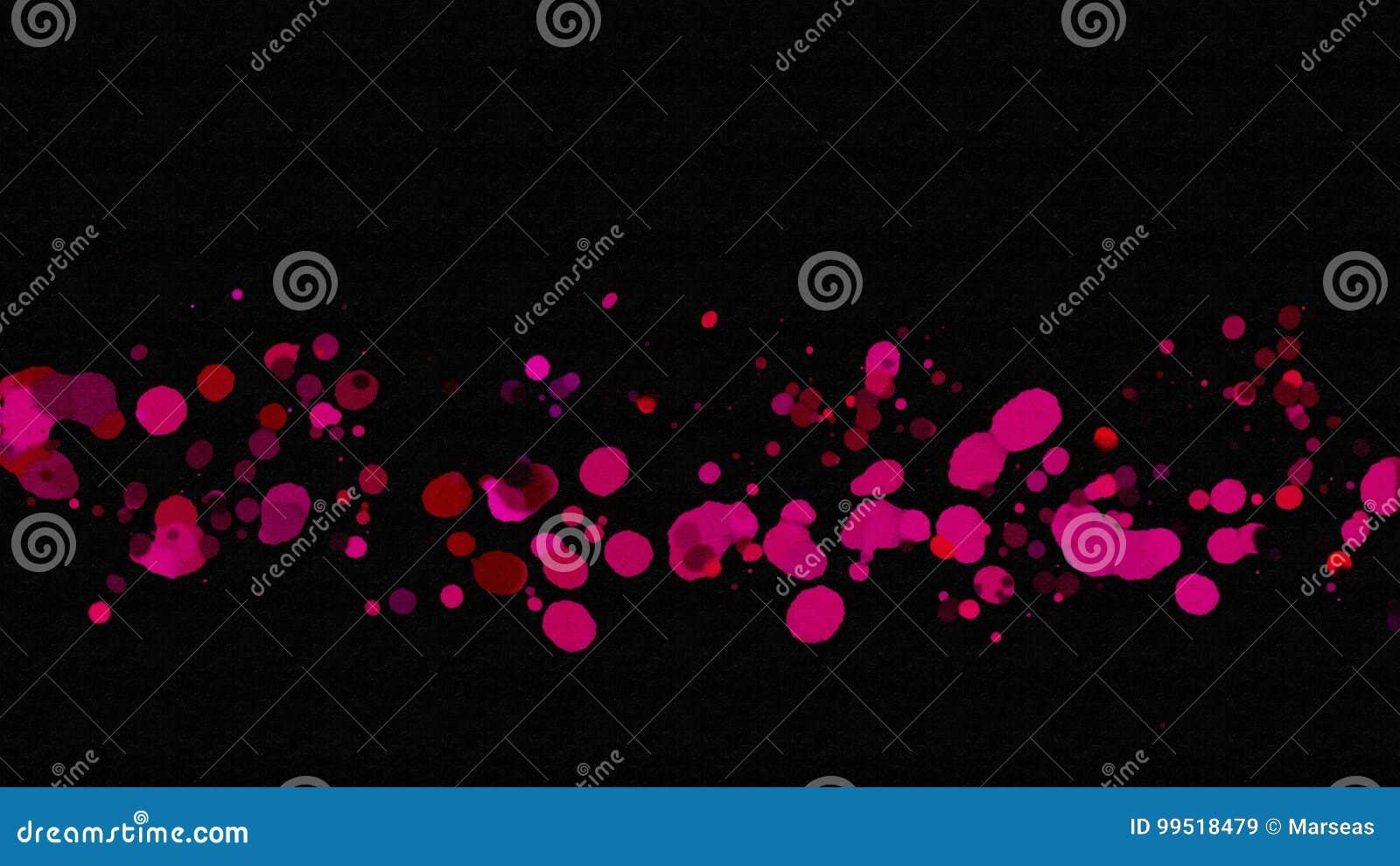 abstrakte rosa farbe spritzen auf schwarzen hintergrund stock