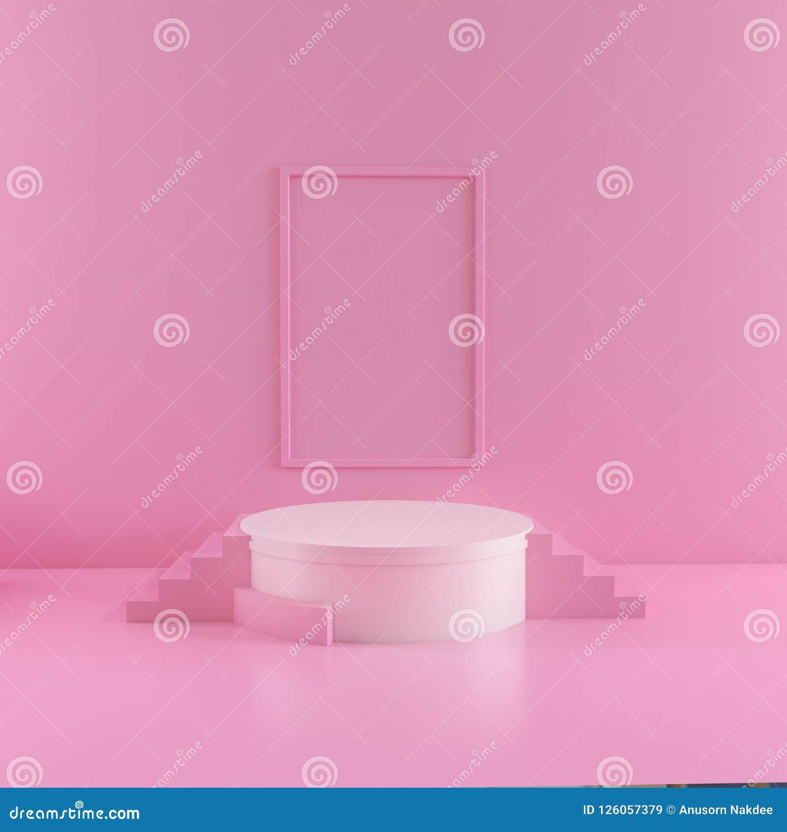 Abstrakte rosa Farbgeometrischer Formhintergrund, modernes unbedeutendes Modell für Podiumanzeige