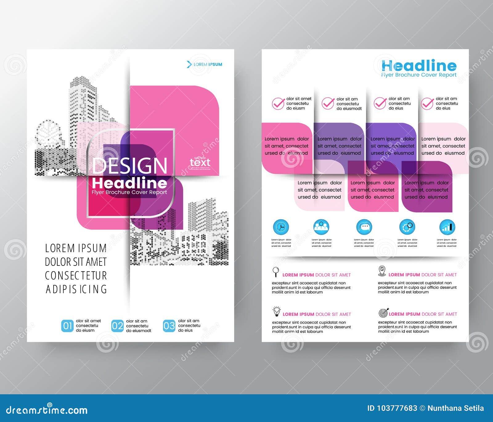 Abstrakte rosa quere grafische Element Vektorbroschürenabdeckungsfliegerplakat-Entwurfschablone in der Größe A4