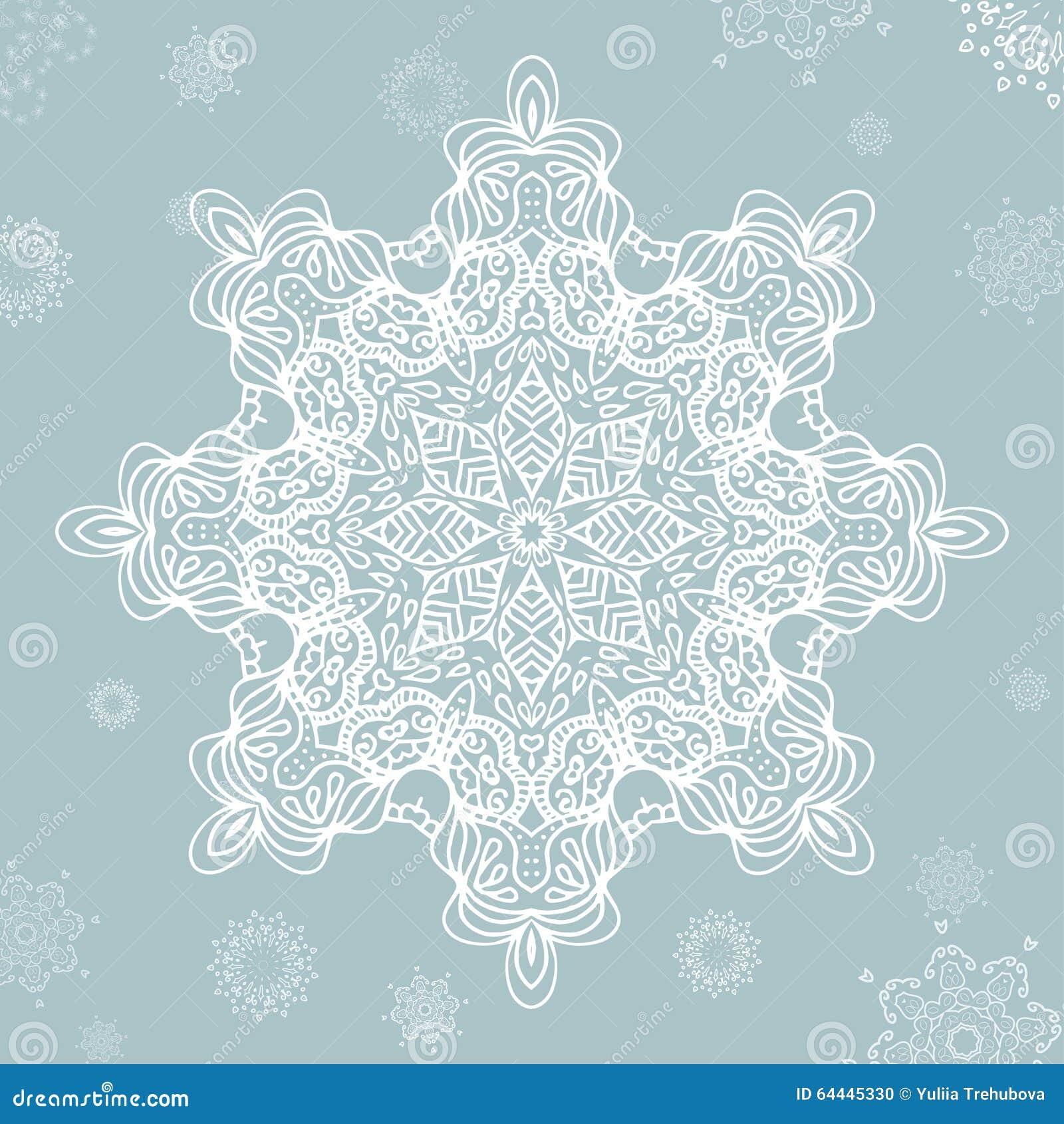 abstrakte schneeflocke vektor mandala f r weihnachten. Black Bedroom Furniture Sets. Home Design Ideas