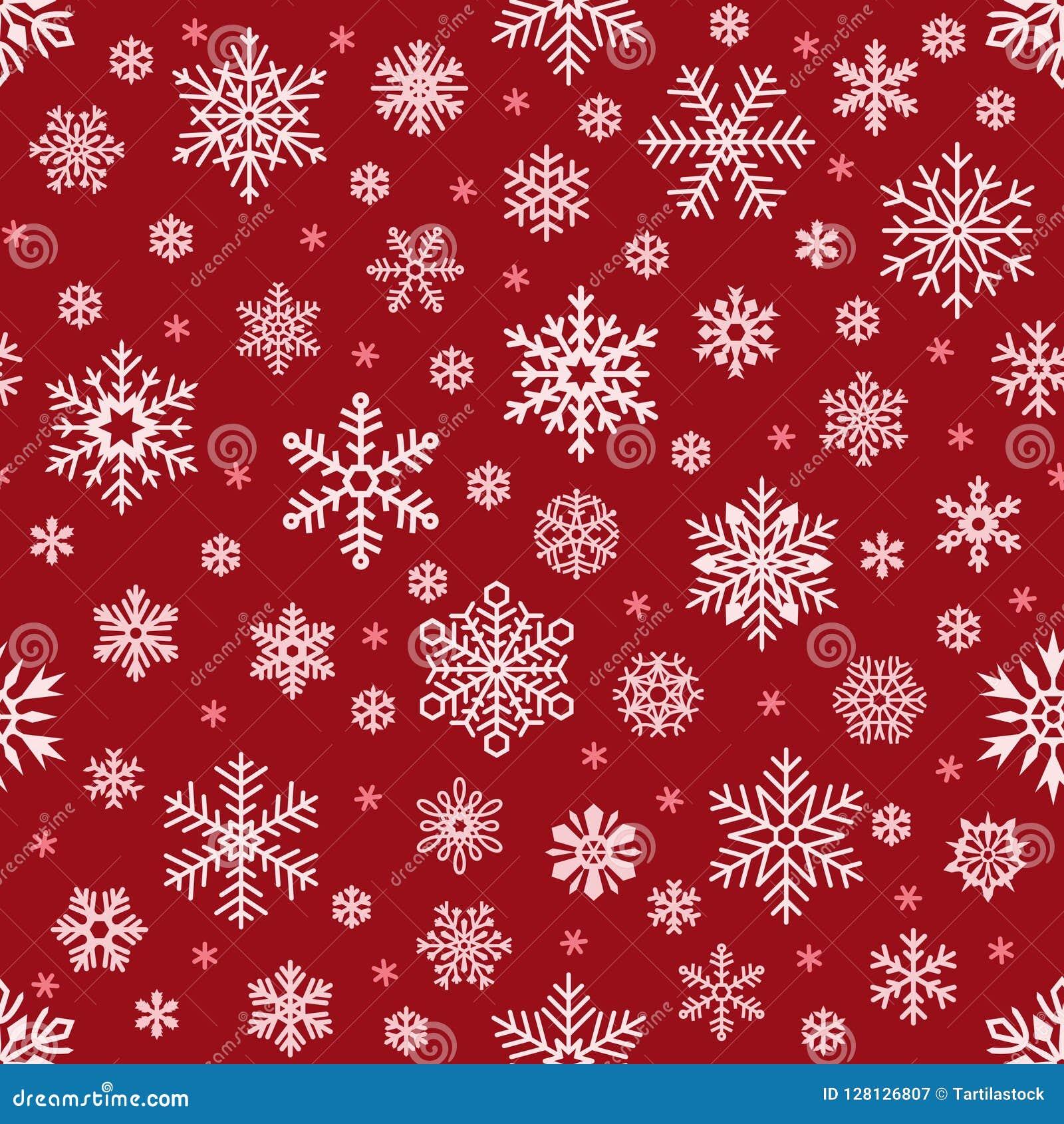 Abstrakte Schneeflocke von geometrischen Formen Weihnachtsfallende Schneeflocke auf rotem Hintergrund Nahtloser Vektorhintergrund