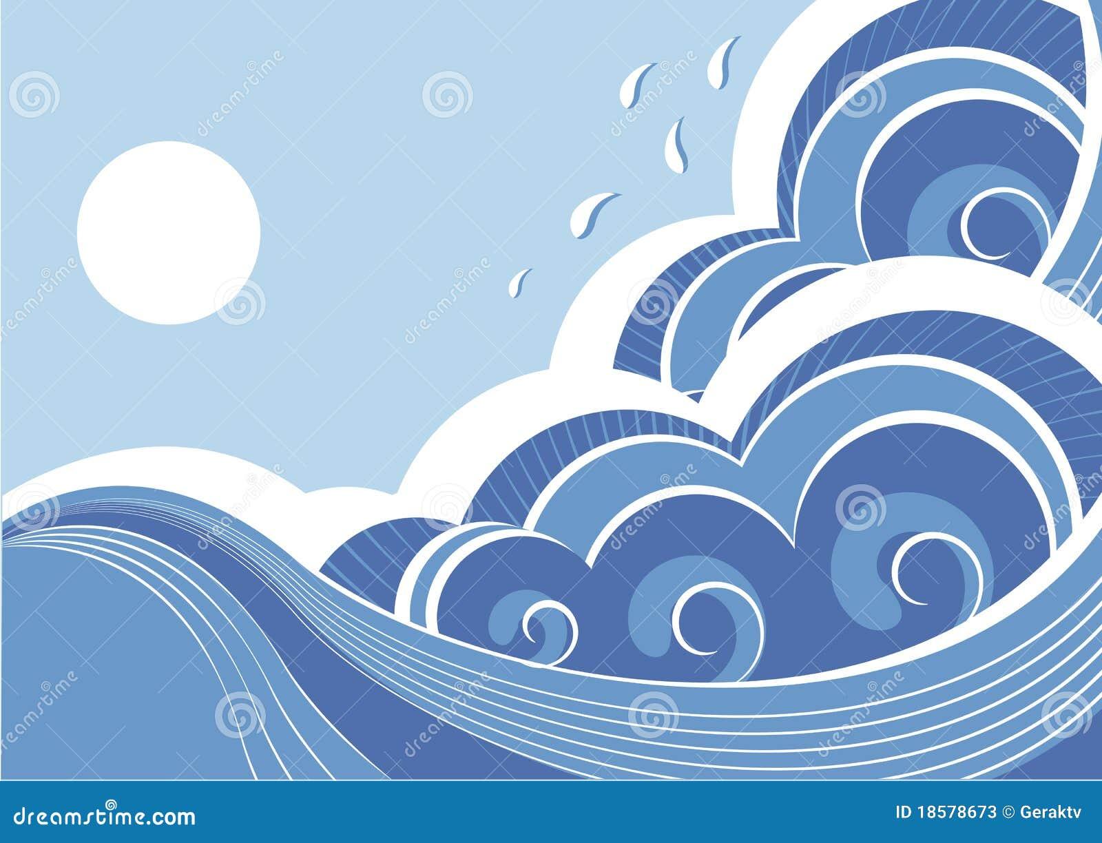 Abstrakte Seewellen. Vektor