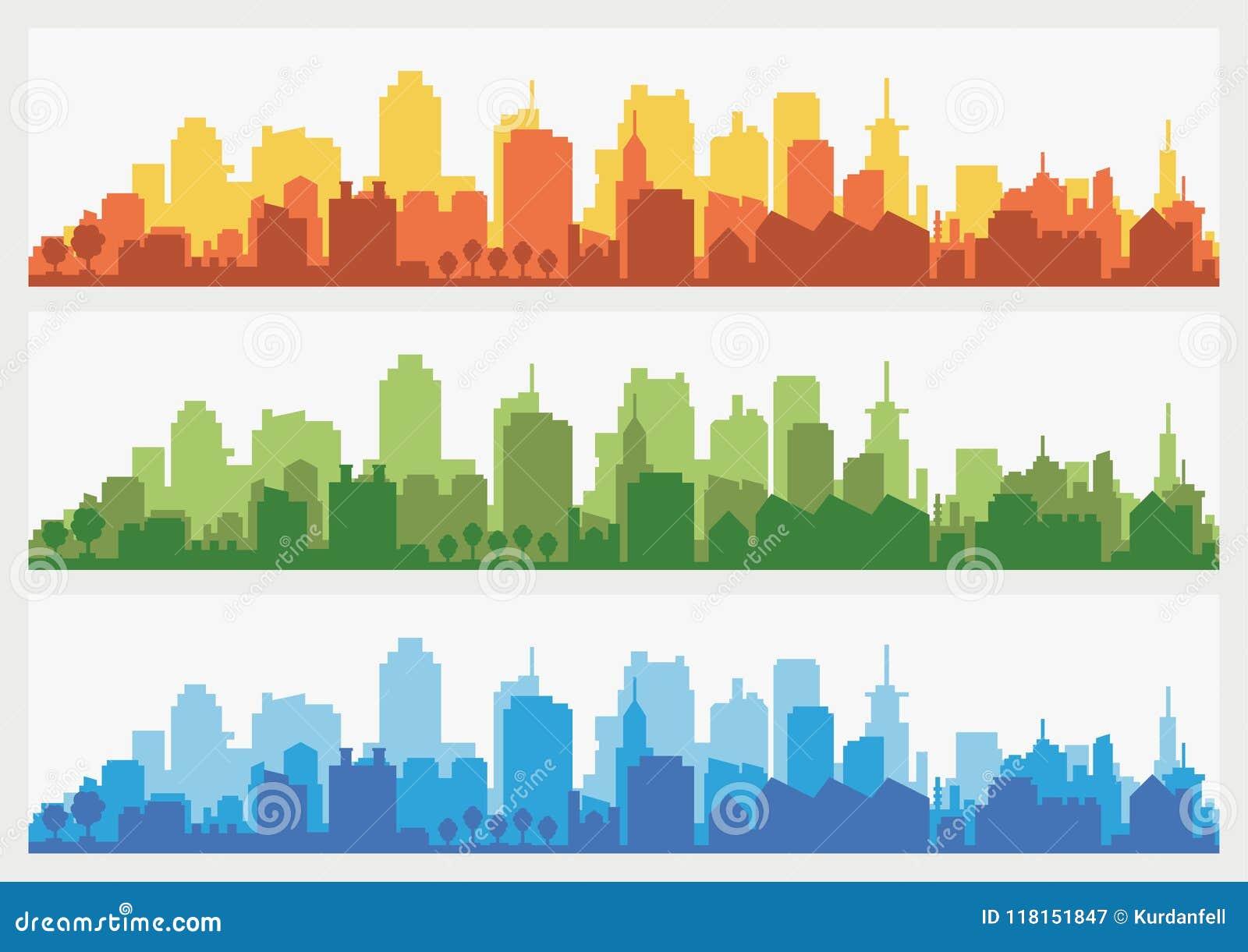 Abstrakte Stadtgebäudeskyline - horizontaler Netzfahnenhintergrund Schattenbild der Stadt Gebäudeschattenbildstadtbild
