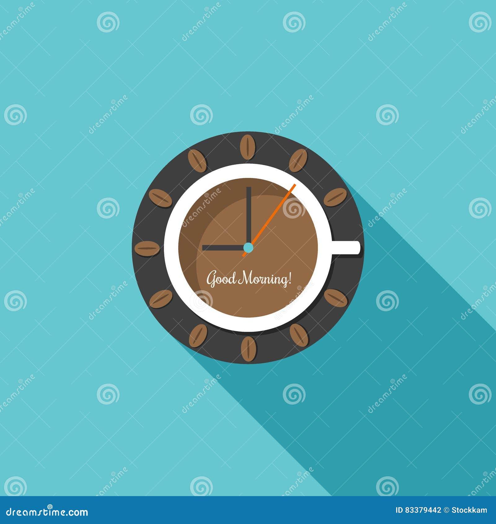 Abstrakte Uhr, hergestellt vom Tasse Kaffee Guten Morgen